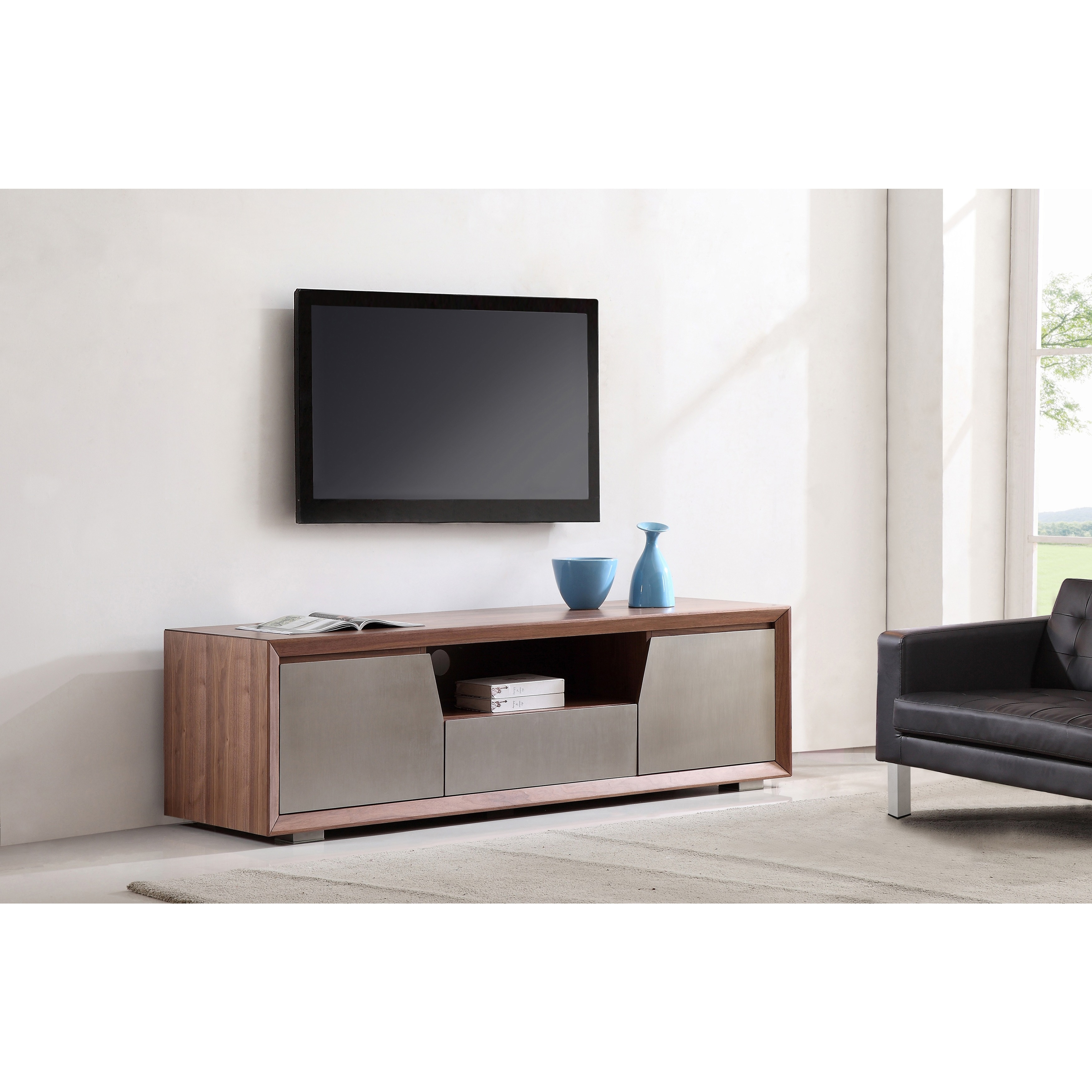 Element Light Walnut Stainless Steel Tv Stand On Free Shipping Today 7524406