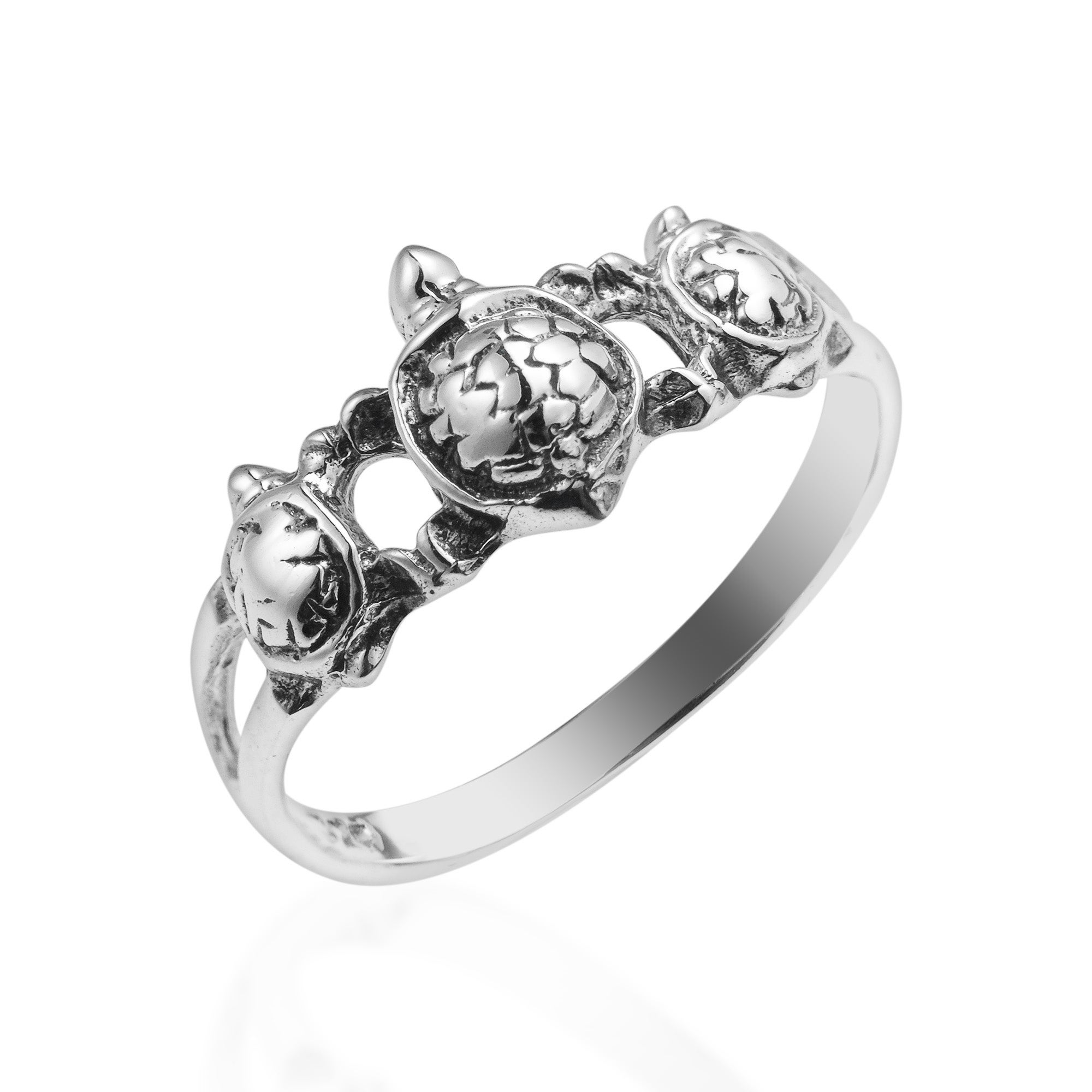 Handmade Cute Triple Sea Turtle 925 Sterling Silver Ring Thailand On Free Shipping Orders Over 45 7531623