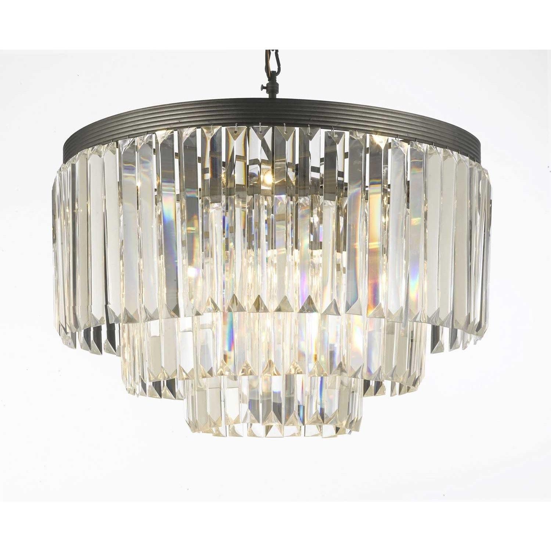 Gallery Odeon Crystal Glass Fringe 3 tier Chandelier Free