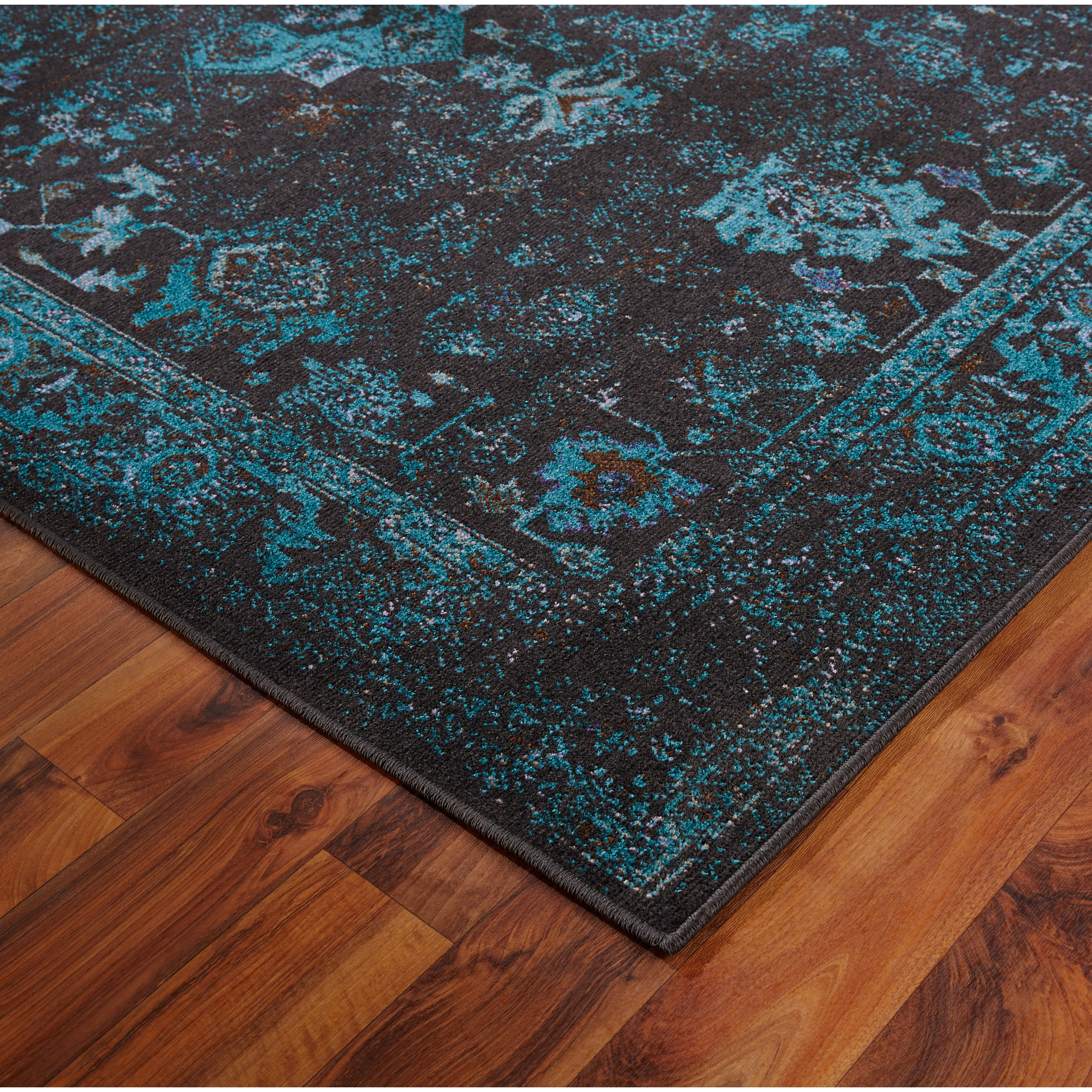 Favorite Distressed Traditional Overdyed Black/ Teal Area Rug (Multiple  MM88