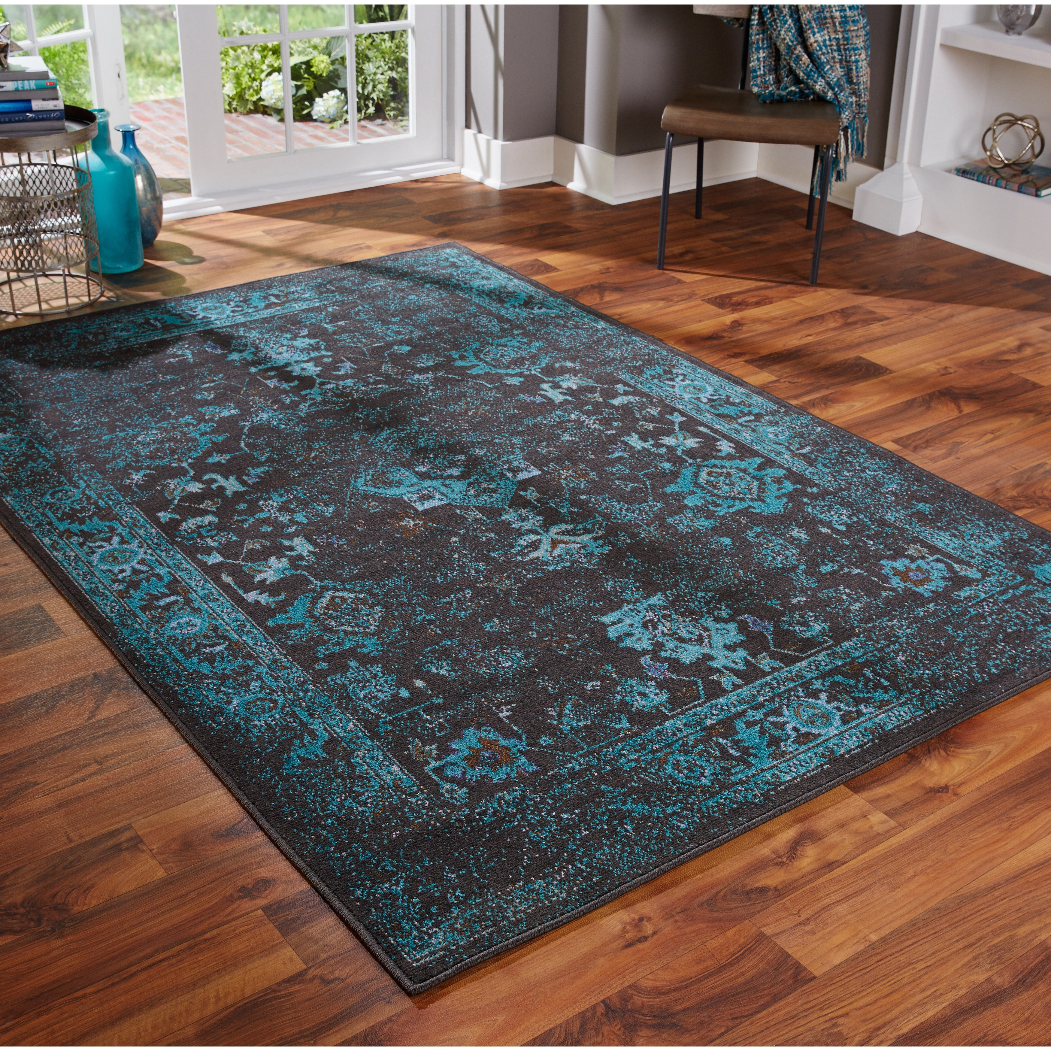 Shop Distressed Traditional Overdyed Black Teal Area Rug Multiple