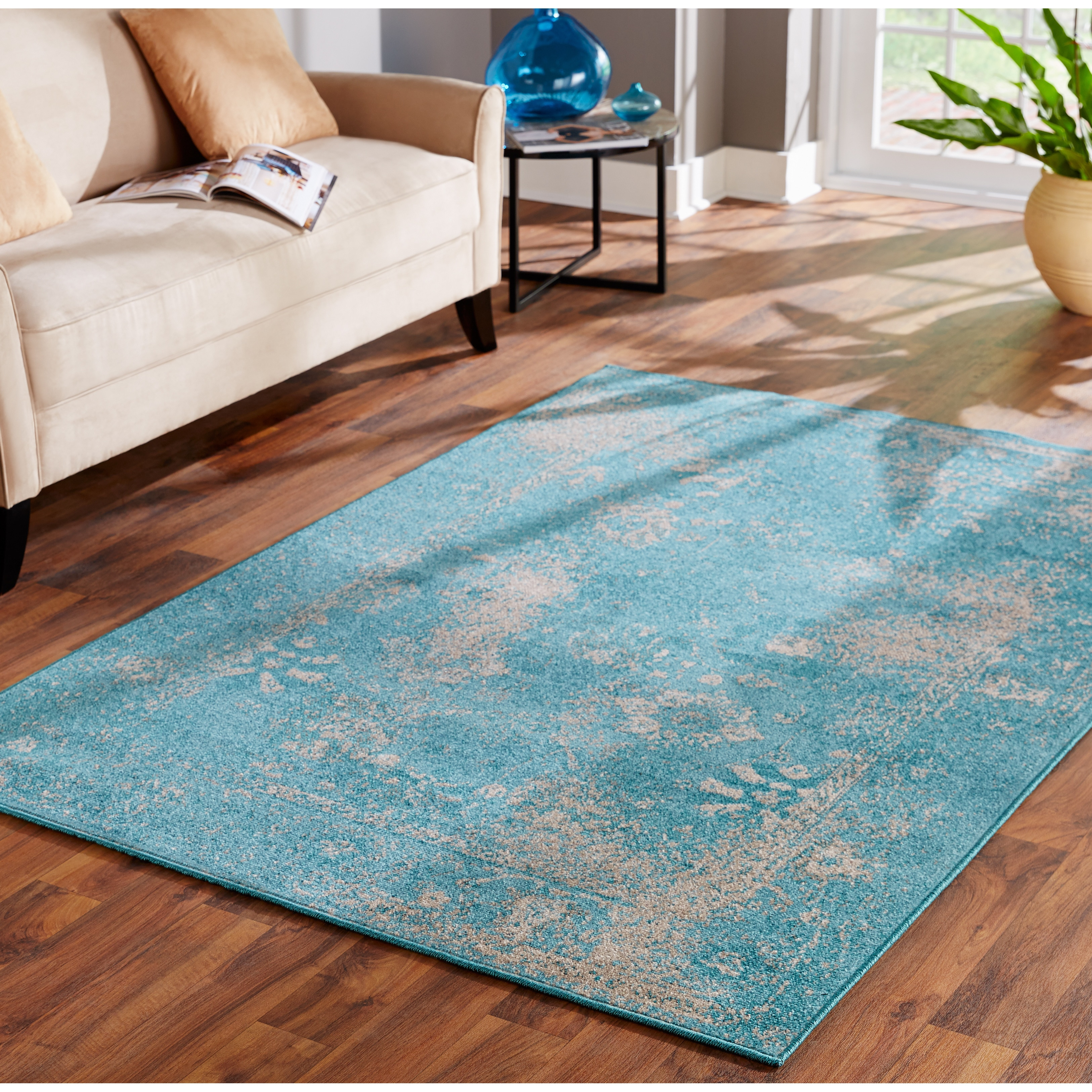 Shop Over dyed Distressed Traditional Teal Beige Area