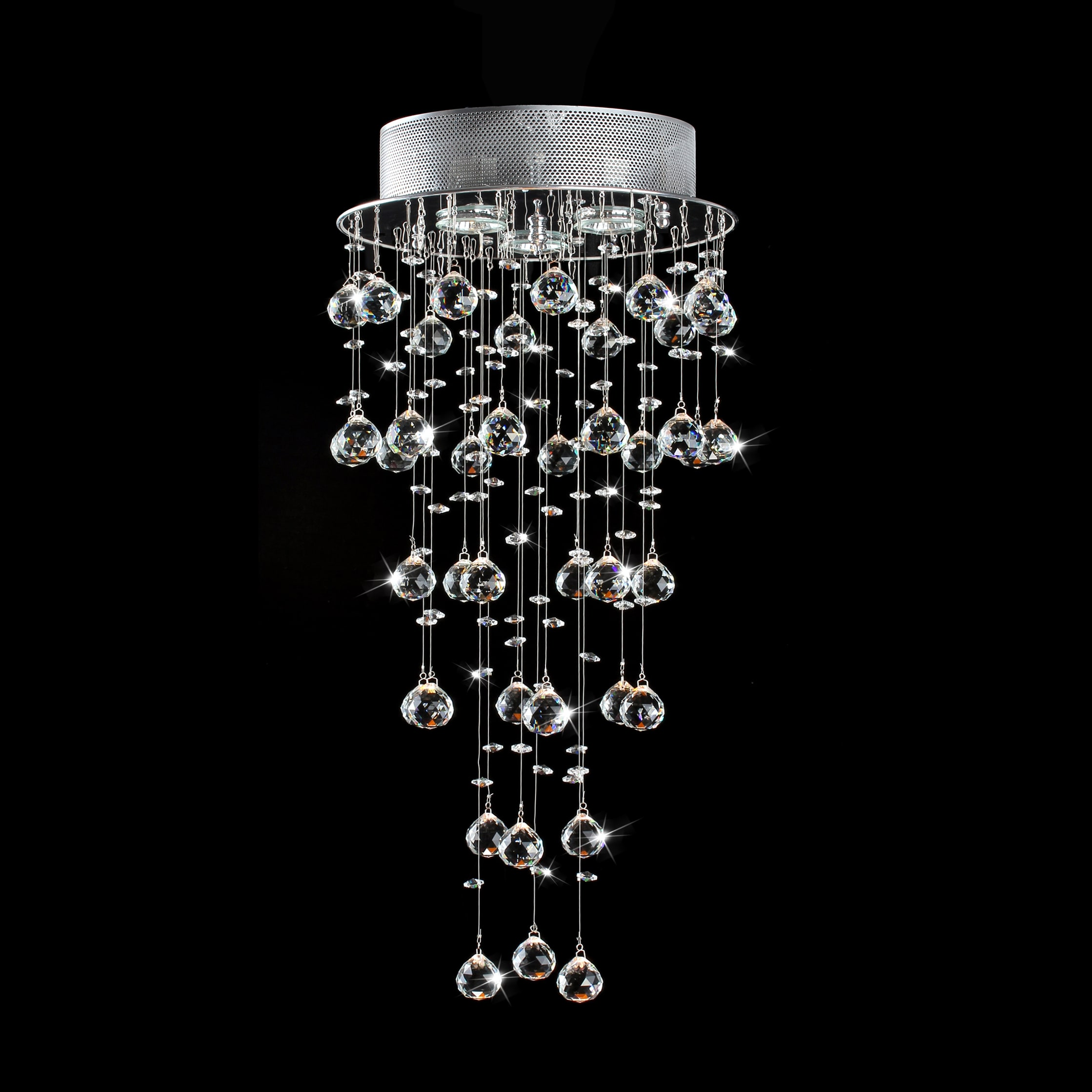 Floating Crystals And Chrome Flush Mount Chandelier Silver Free Shipping Today 7538663