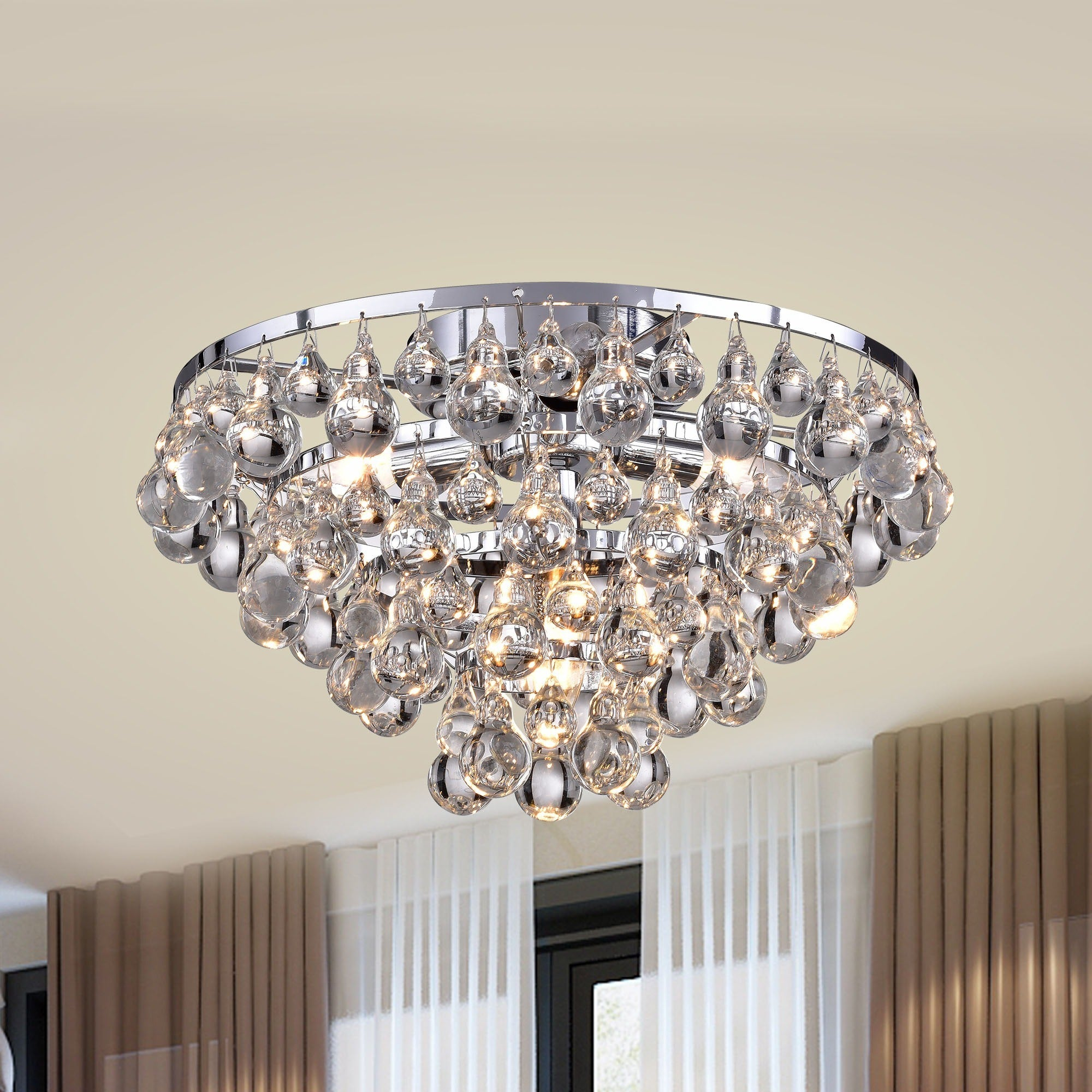 Tranquil Crystal Bubble And Chrome Flush Mount Chandelier Free Shipping Today 7538664