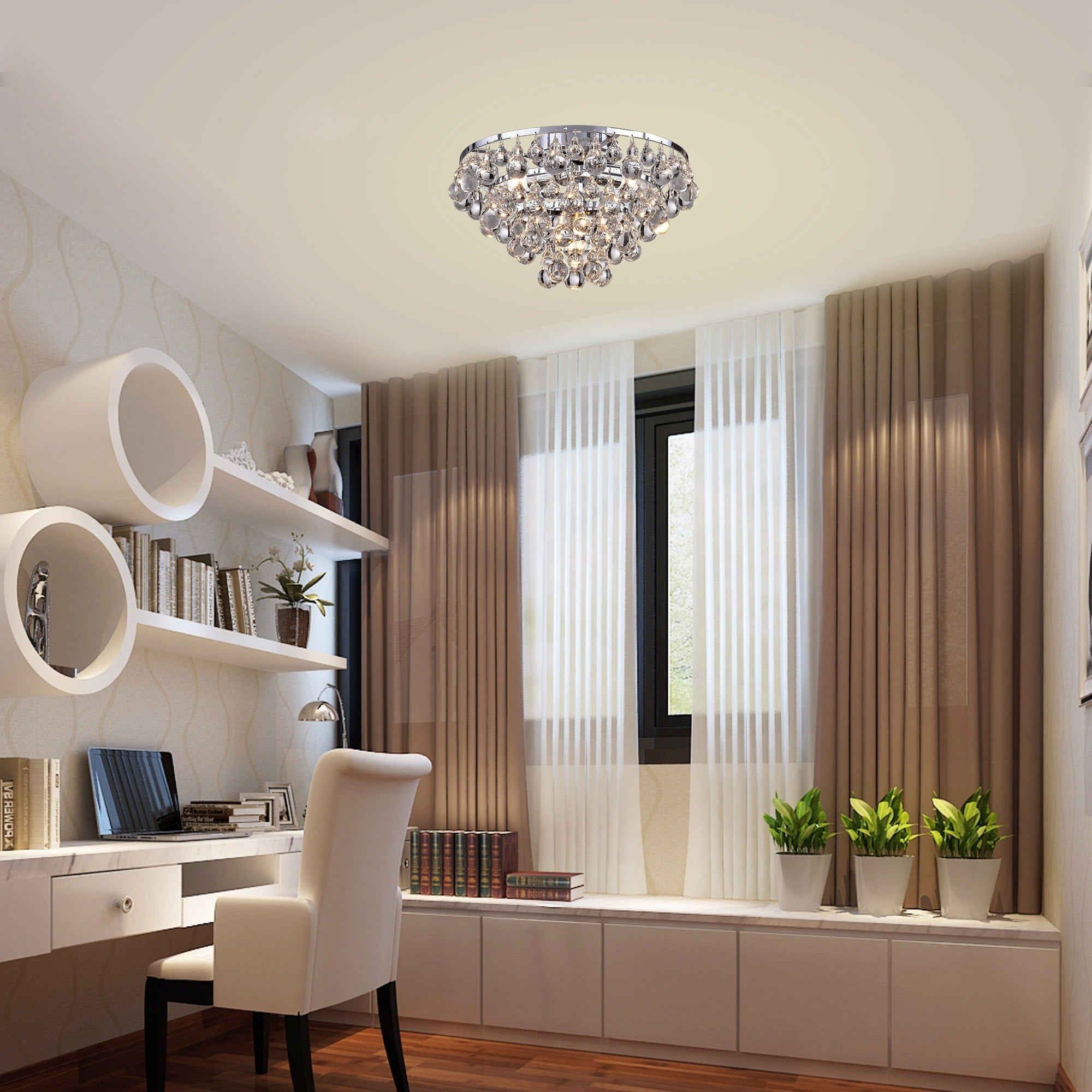 Tranquil Crystal Bubble and Chrome Flush mount Chandelier Free