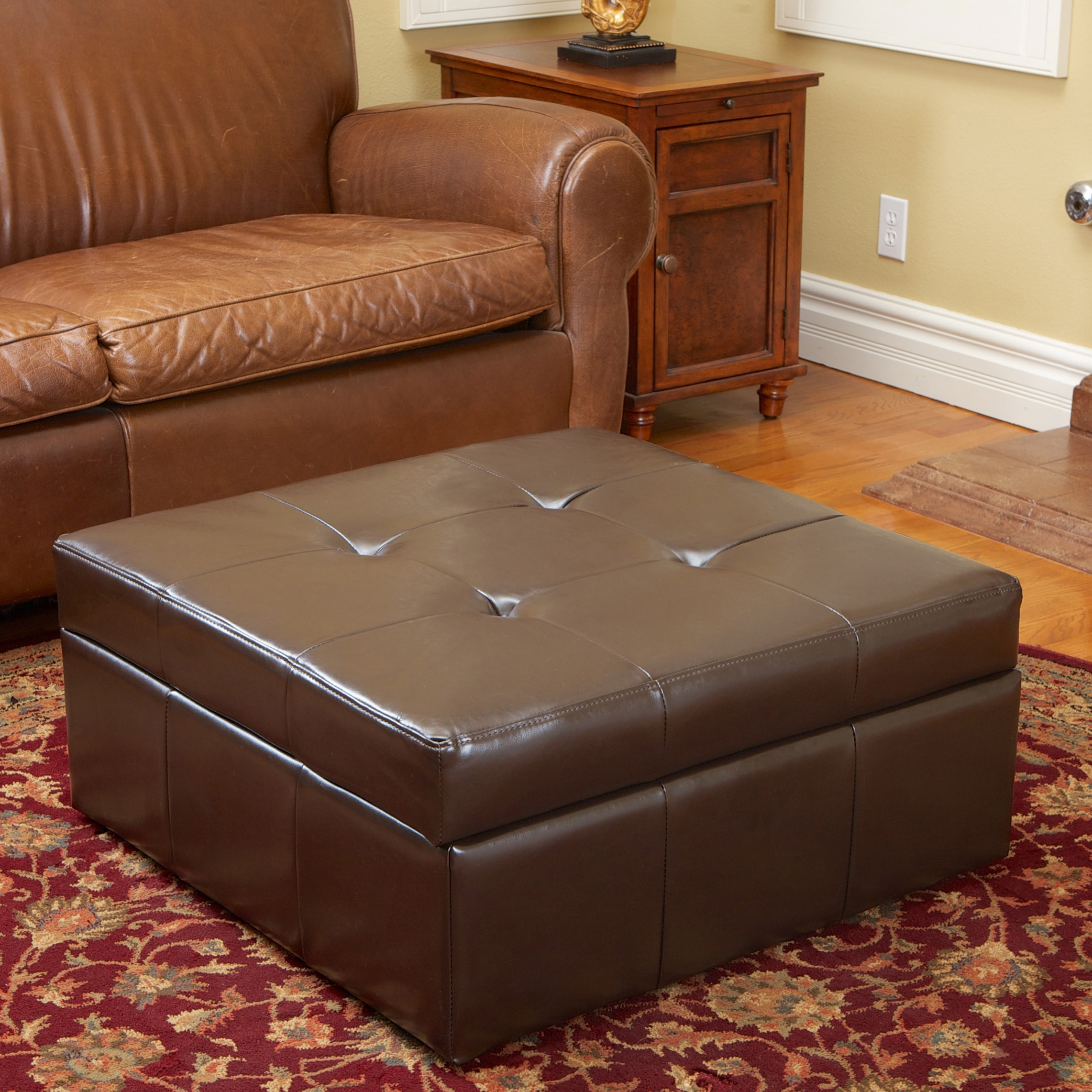 Awesome Chatsworth Brown Leather Storage Ottoman By Christopher Knight Home   Free  Shipping Today   Overstock   14974234