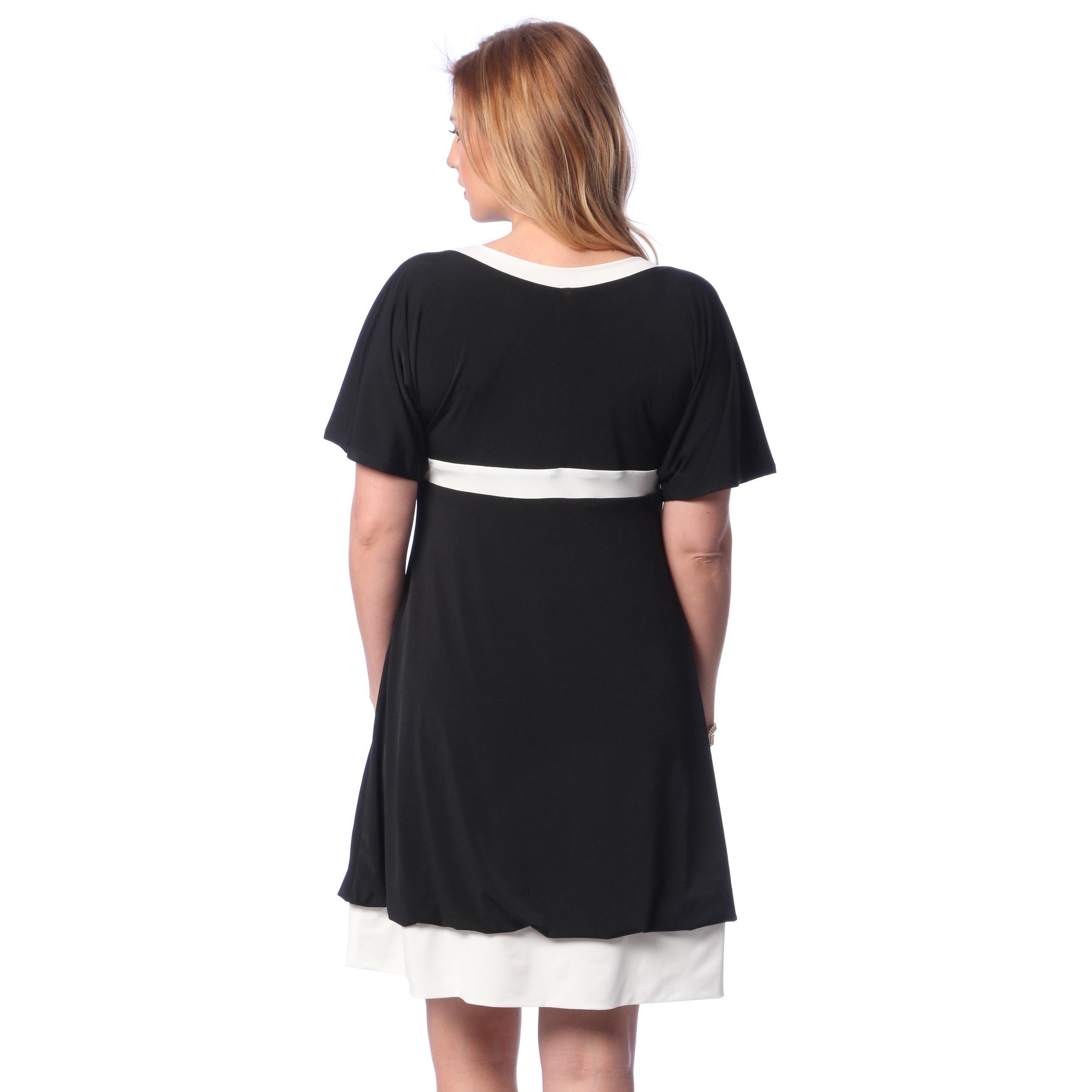 Shop Evanese Women\'s Plus Size Two-tone Bubble-hem Dress - Free ...