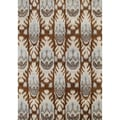 Alliyah Handmade IKAT Brown Sugar New Zealand Blend Wool / Viscose Silk Pile Rug (9' x 12')