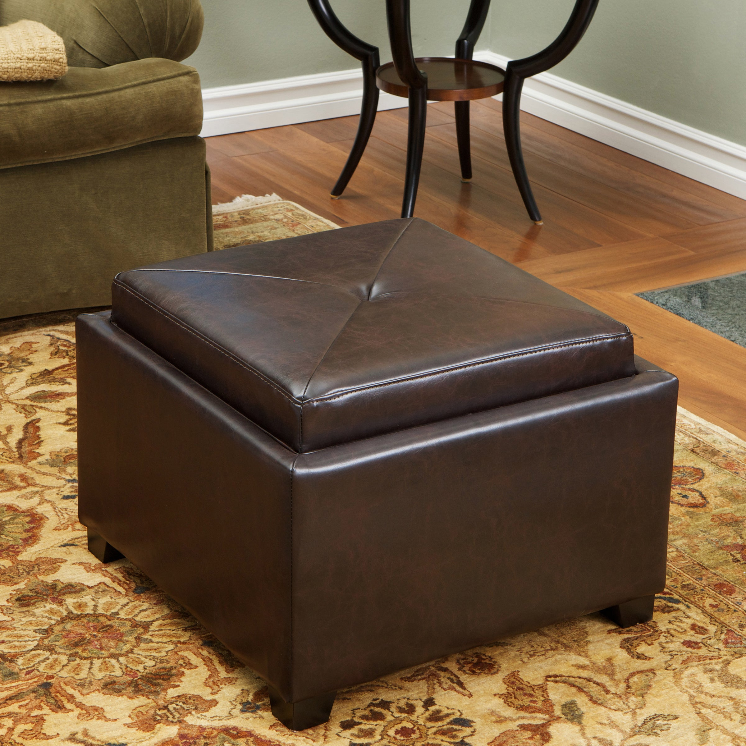 Shop Andrea Brown Leather Tray Top Storage Ottoman By Christopher Knight  Home   On Sale   Free Shipping Today   Overstock.com   7554055