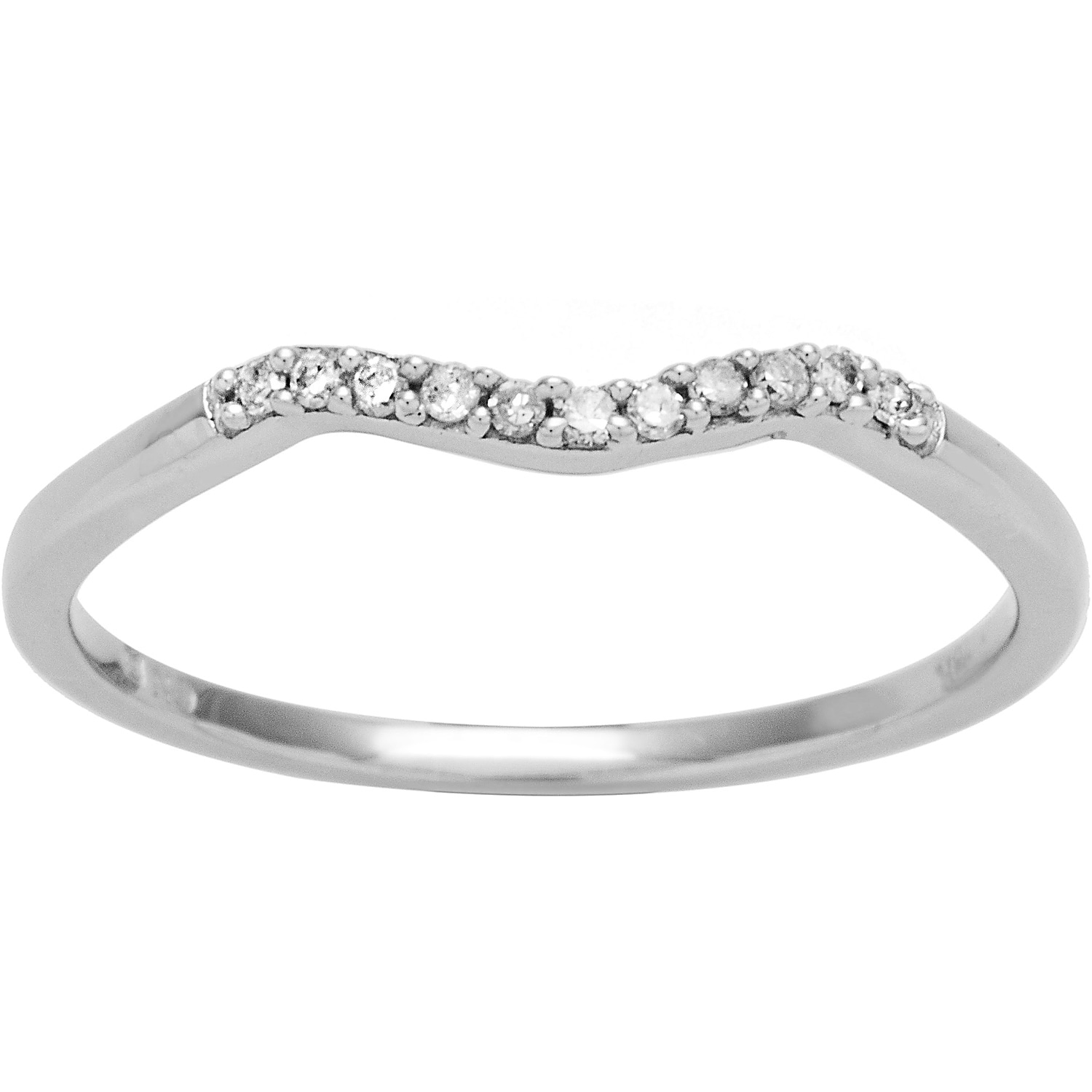 Miadora 10k White Gold Diamond Accent Curved Wedding Band: White Gold Diamond Curved Wedding Bands At Reisefeber.org