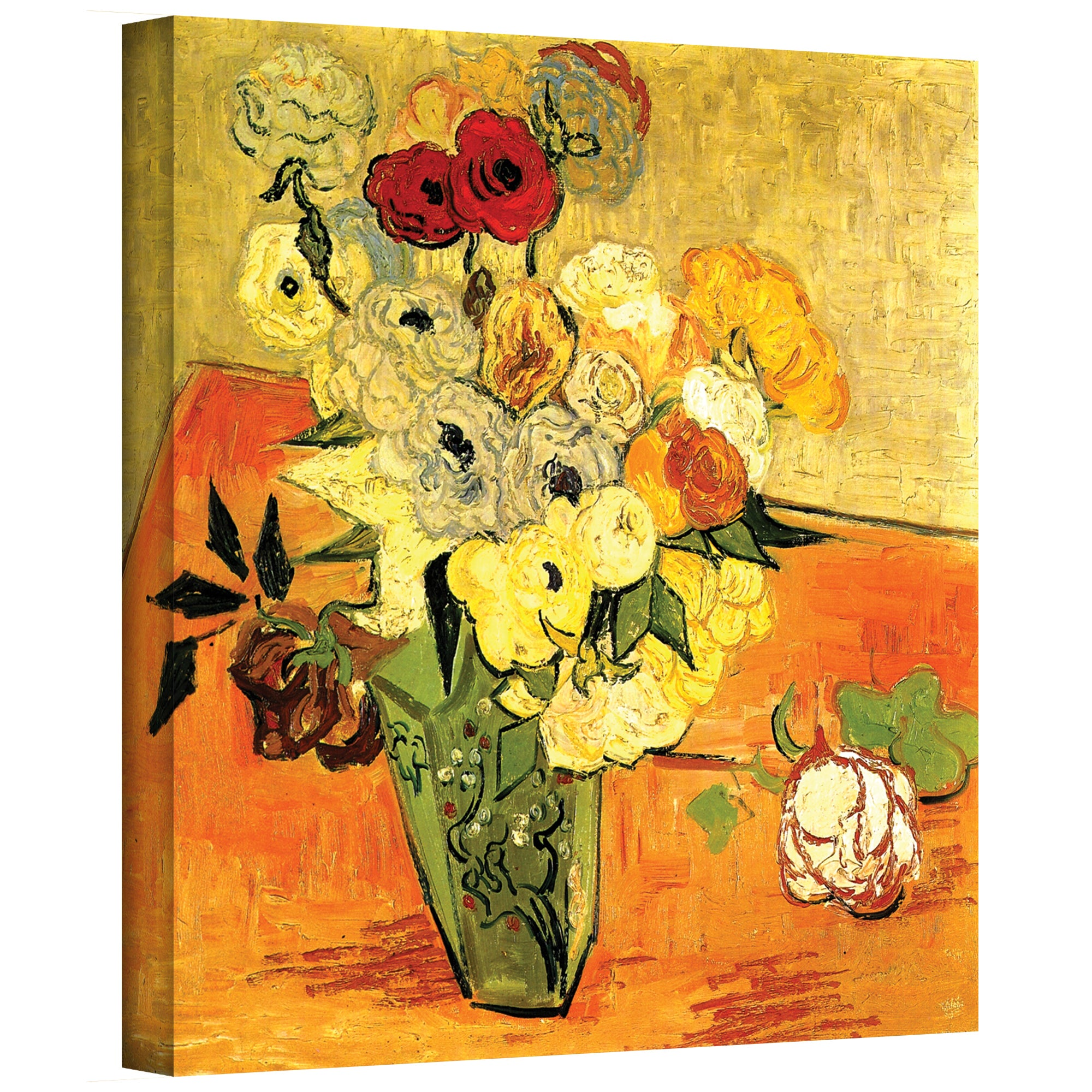 Vincent van gogh japanese vase with roses and anemones wrapped vincent van gogh japanese vase with roses and anemones wrapped canvas art multi free shipping on orders over 45 overstock 14994956 reviewsmspy