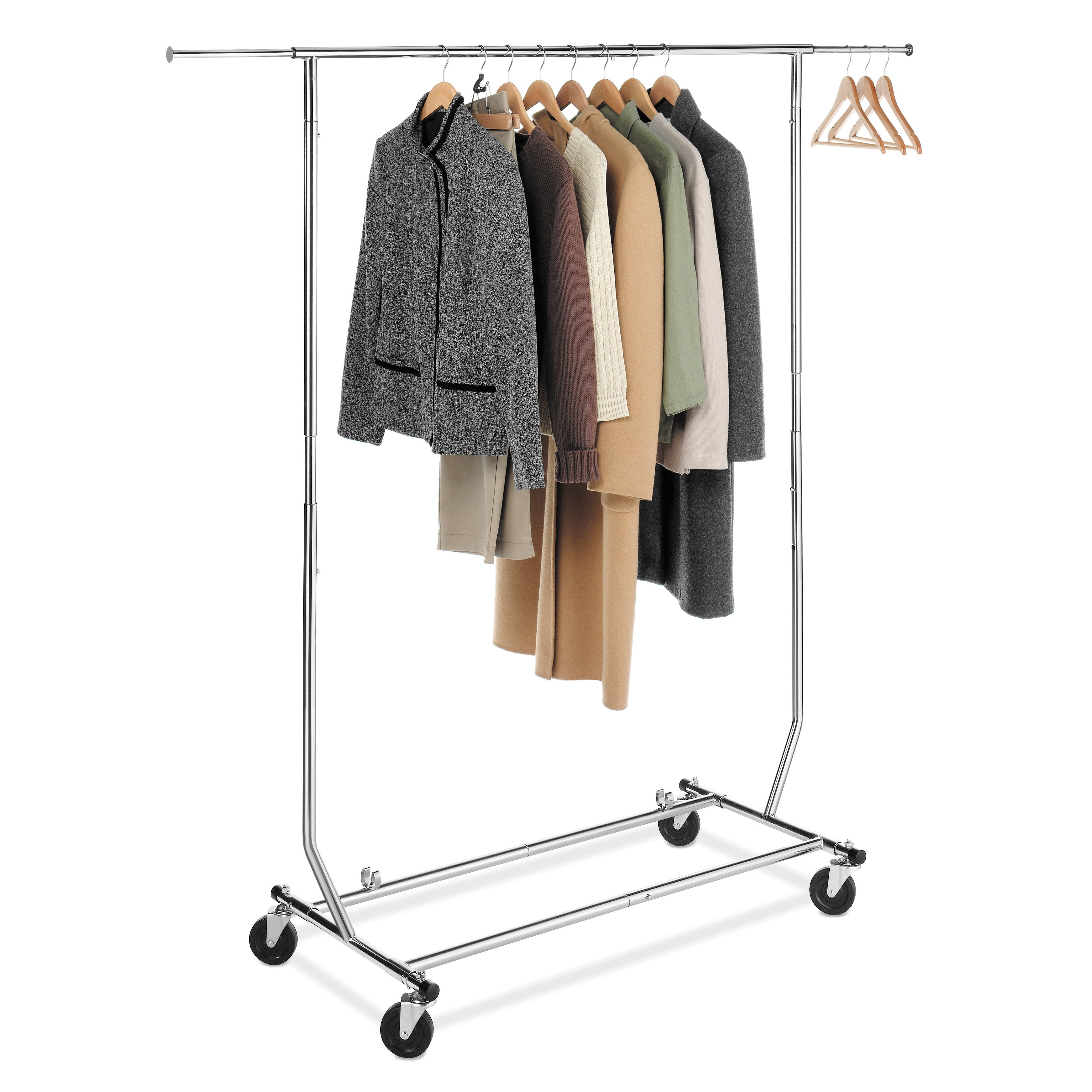 Shop whitmor 6339 1938 chrome steel commercial rolling garment rack free shipping today overstock com 7565103