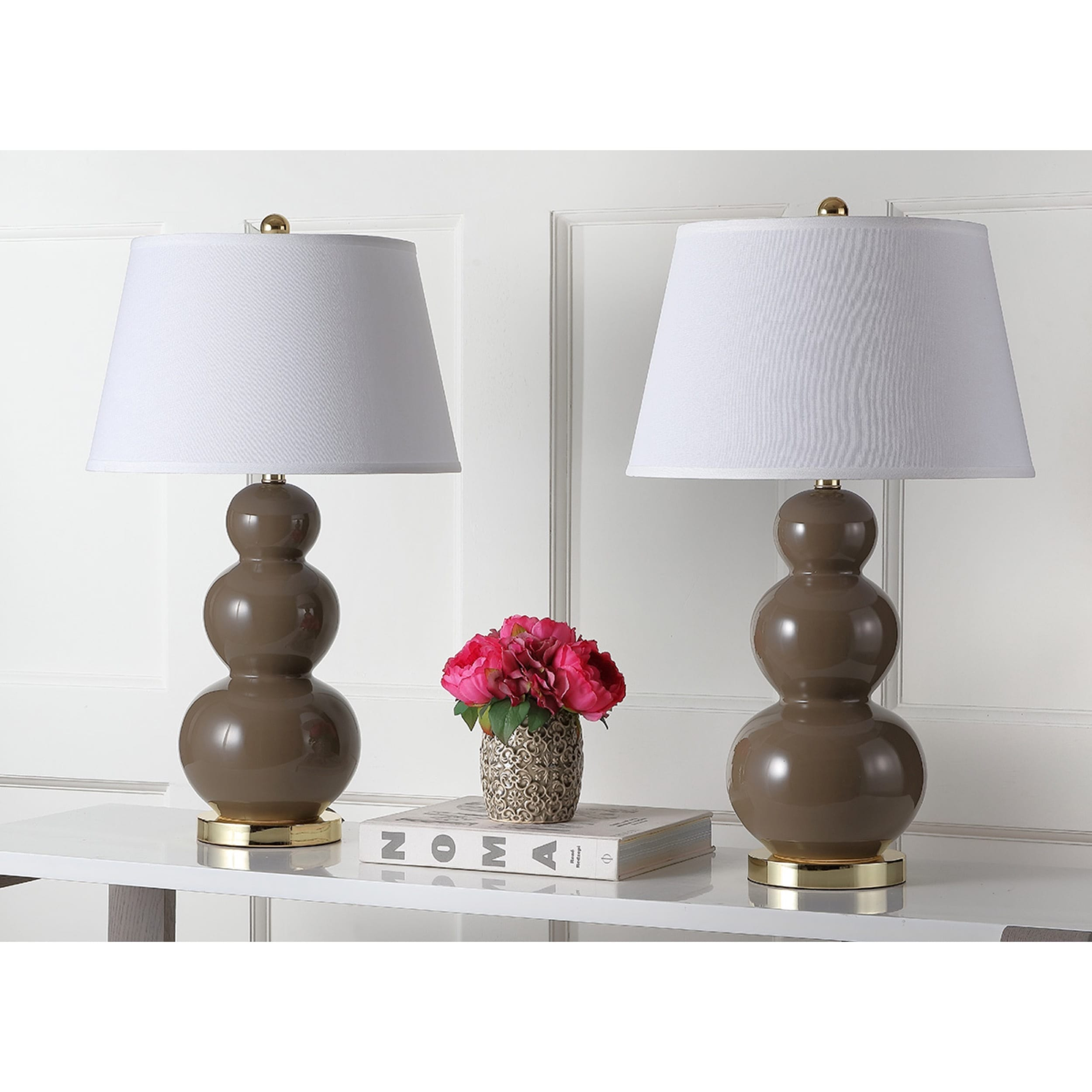 Shop Safavieh Lighting 27 Inch Amy Triple Gourd Taupe Table Lamp (Set Of 2)    On Sale   Free Shipping Today   Overstock.com   7570699