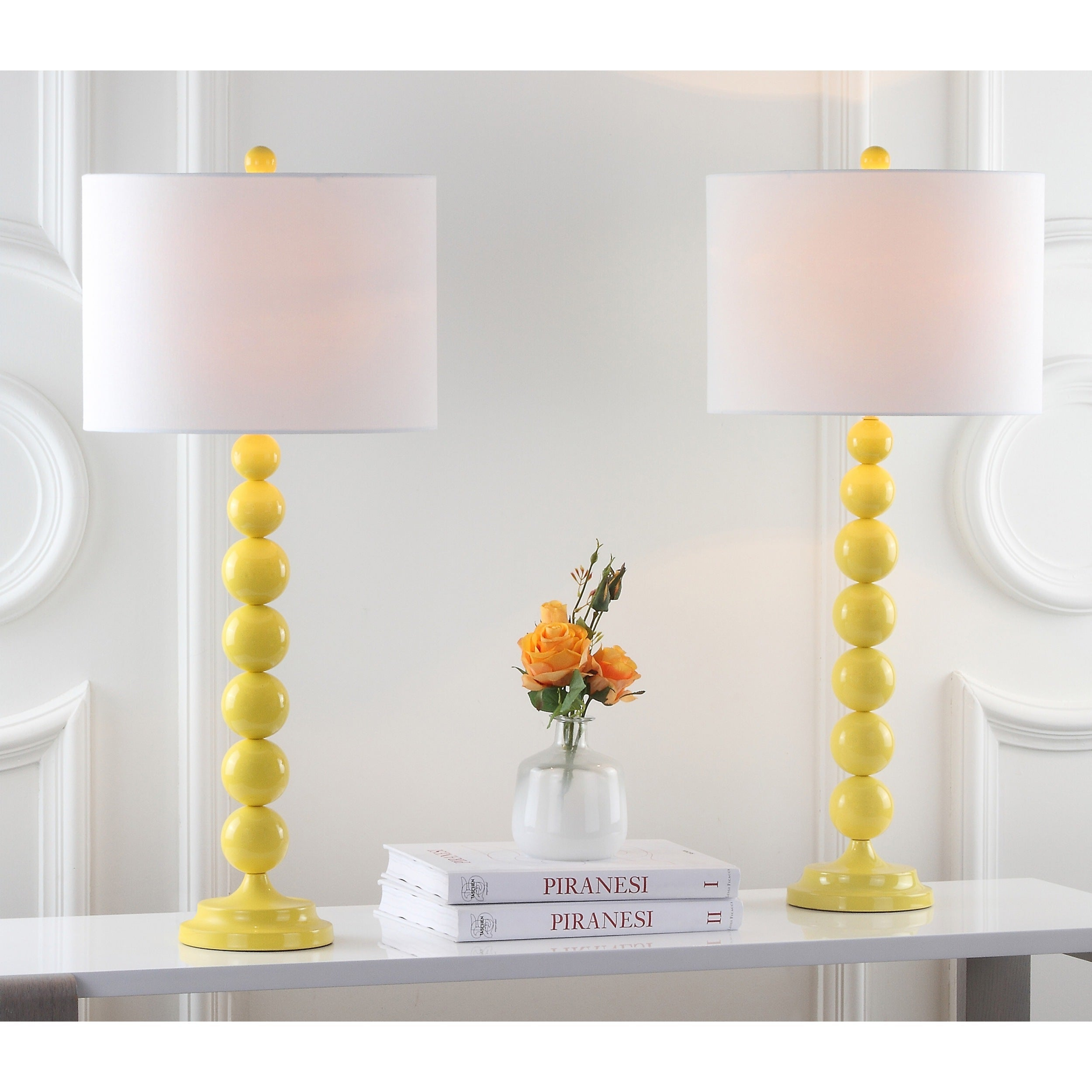 Shop safavieh lighting 31 inch jenna stacked ball yellow table lamp set of 2 ships to canada overstock ca 7570749