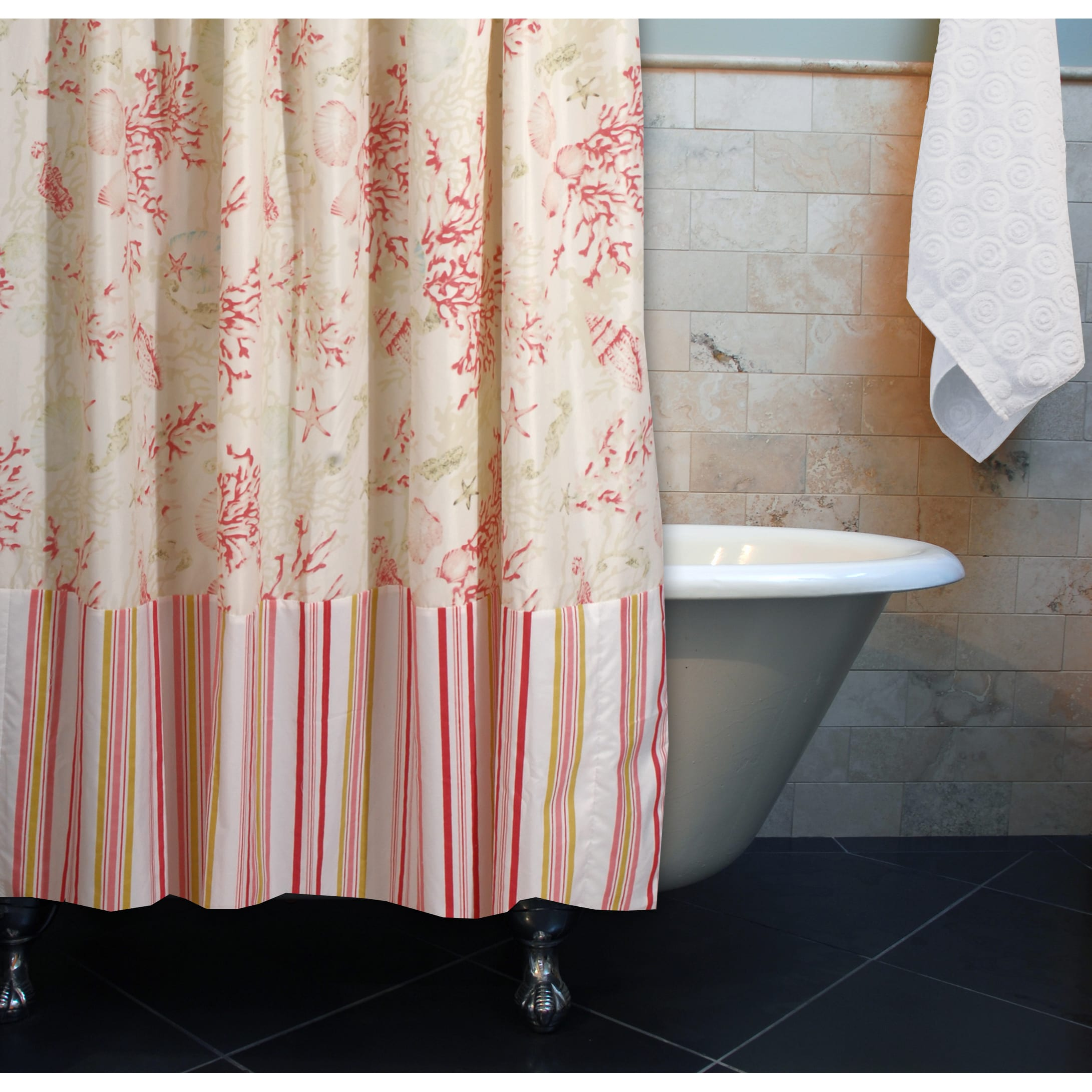 Shop Greenland Home Fashions Coral Seashell Red Shower Curtain
