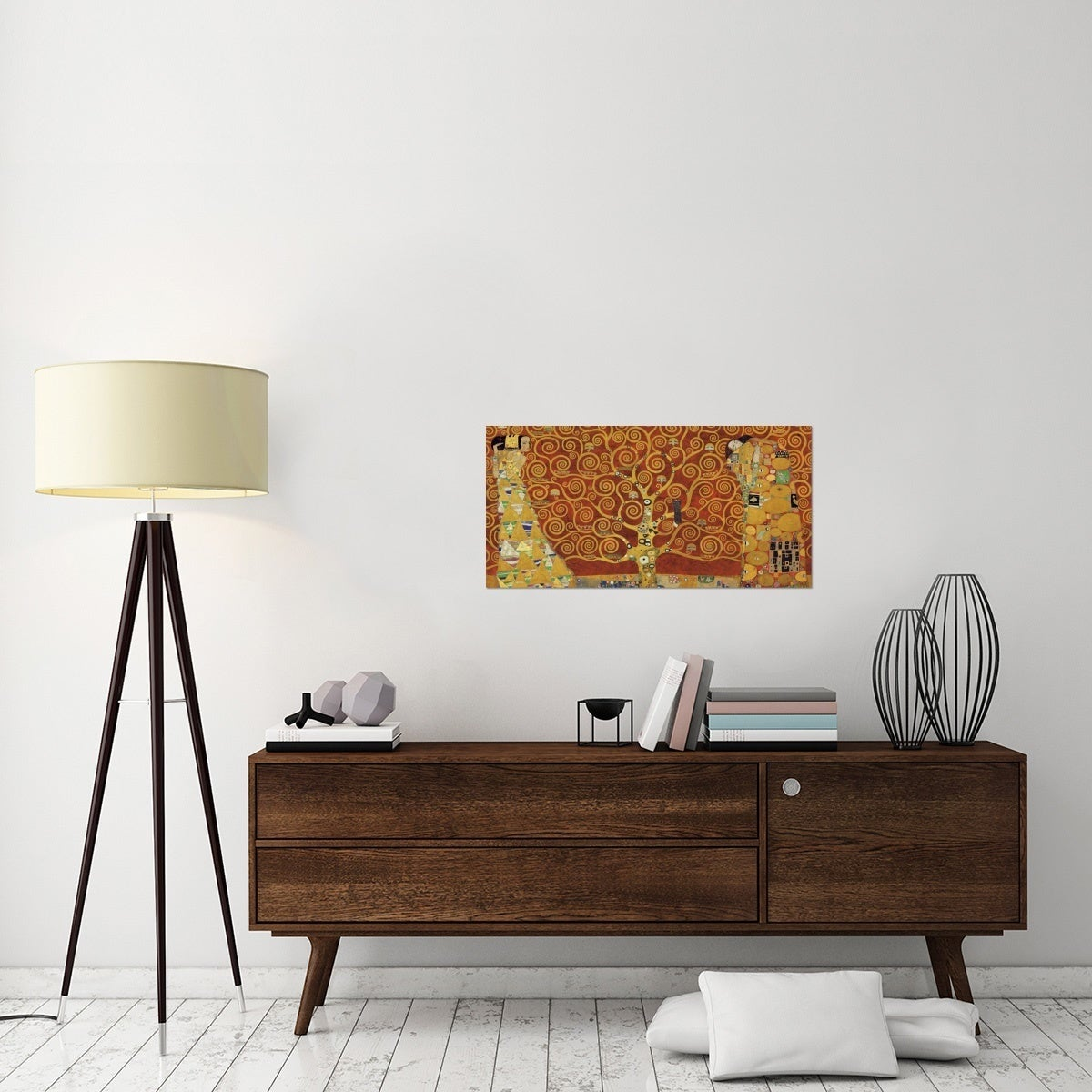 Global Gallery Gustav Klimt U0027Tree Of Life Red Variationu0027 Stretched Canvas  Art   Free Shipping Today   Overstock.com   15001012