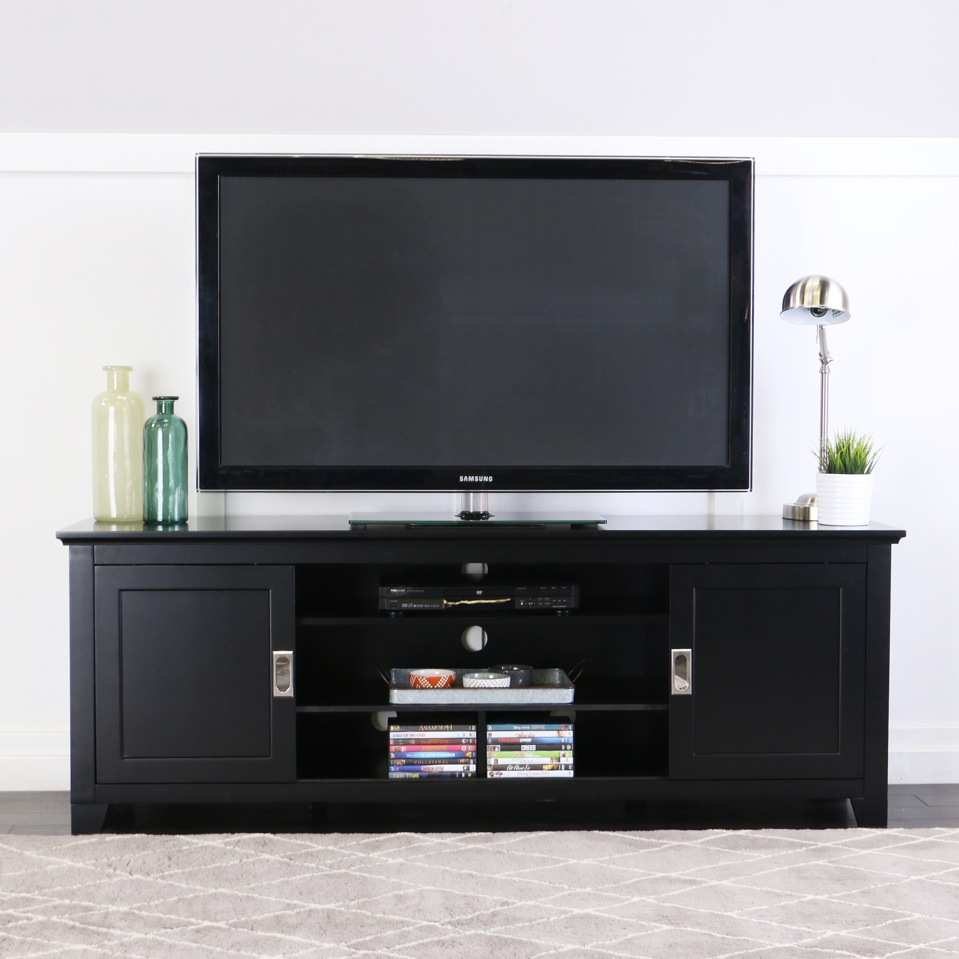 Shop 70 Inch Black Wood Tv Stand With Sliding Doors Free Shipping