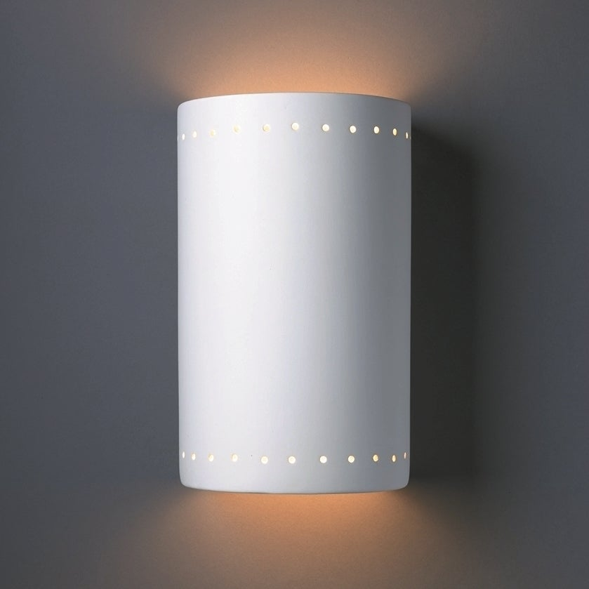 Shop Cylindrical Ceramic Bisque 2 Light Wall Sconce On Sale Free