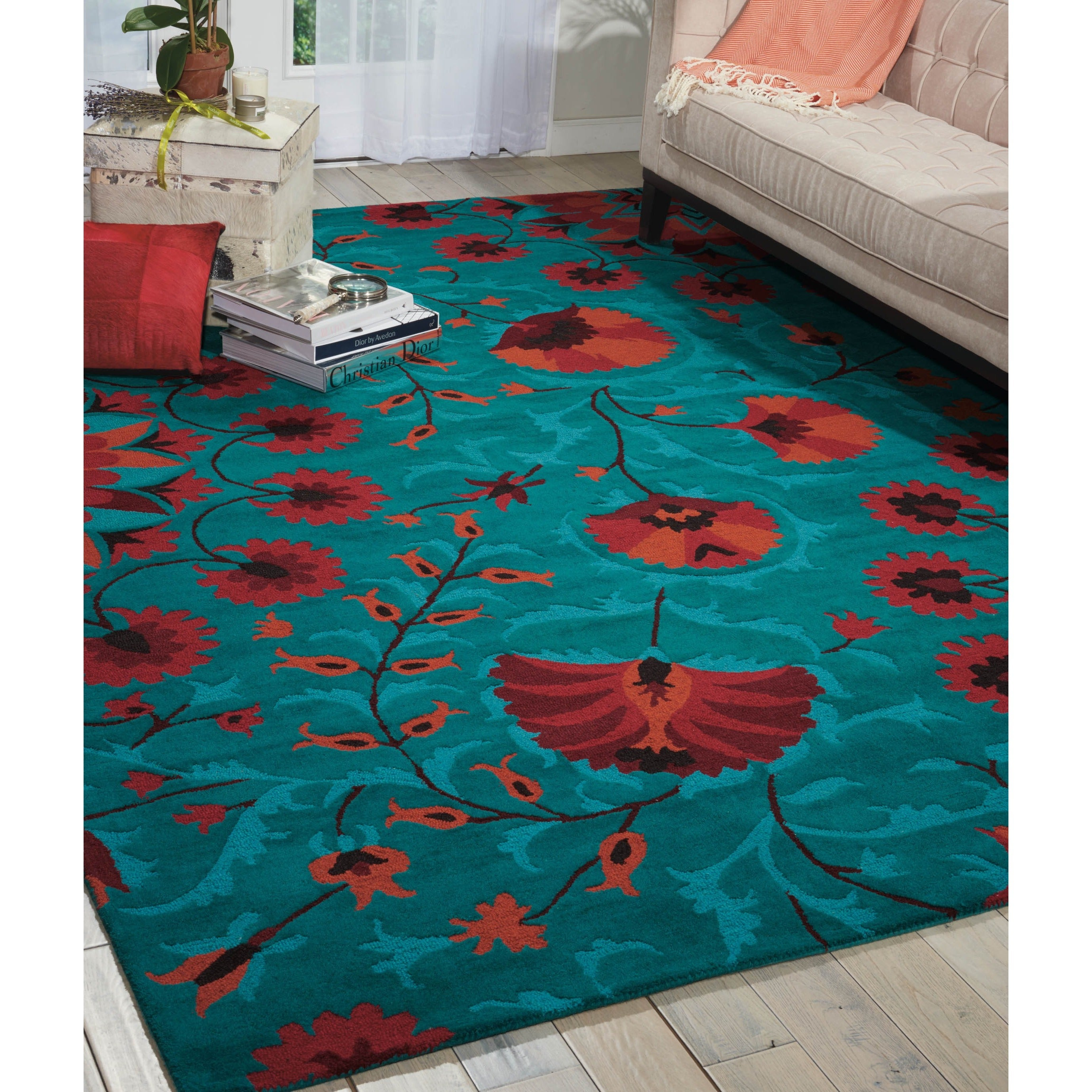 Hand-tufted Suzani Teal Floral Bloom Rug (5\'3 x 7\'5) - Free Shipping ...