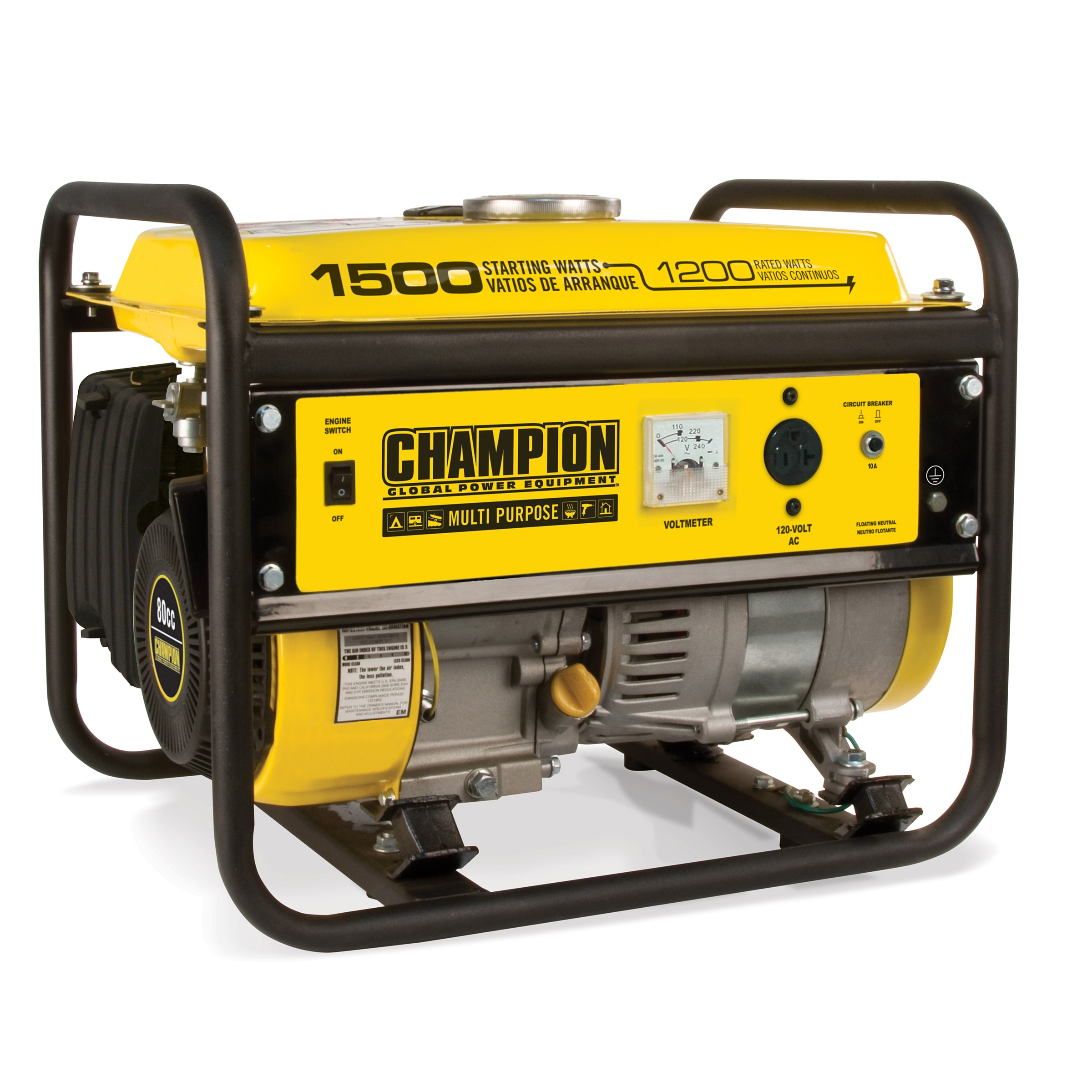 Shop Champion Power Equipment 42436 1200w 1500w 80cc Portable Gas Circuit Breaker Powered Generator Ships To Canada 7600141