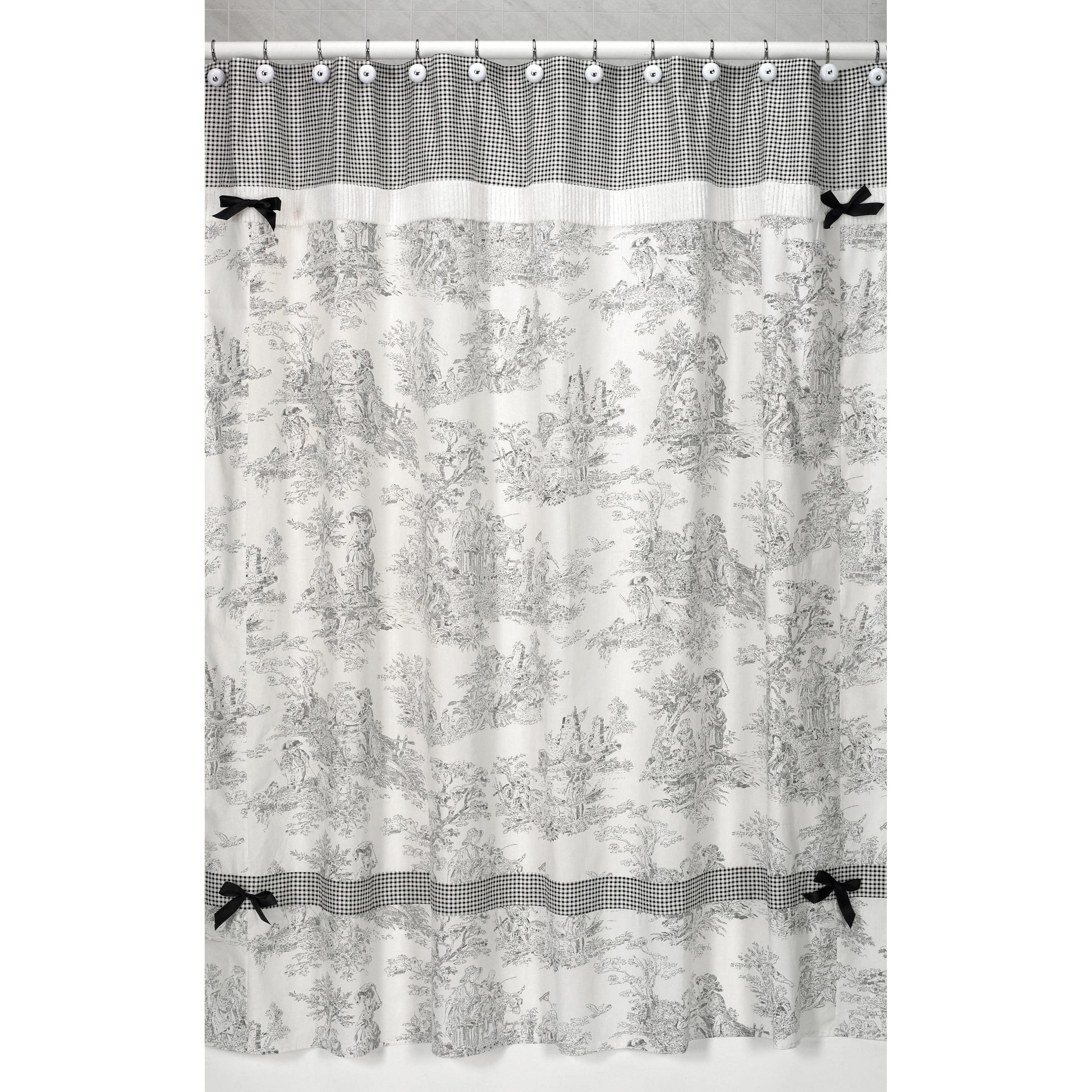Shop Sweet Jojo Designs Black French Toile Shower Curtain - Free ...