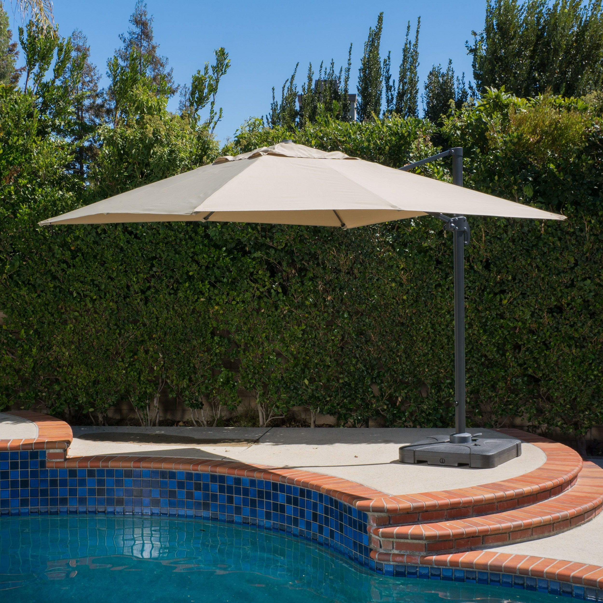 Outdoor Geneva 9u00278-foot Canopy Umbrella with Stand by Christopher Knight Home - Free Shipping Today - Overstock.com - 15035098 & Outdoor Geneva 9u00278-foot Canopy Umbrella with Stand by Christopher ...