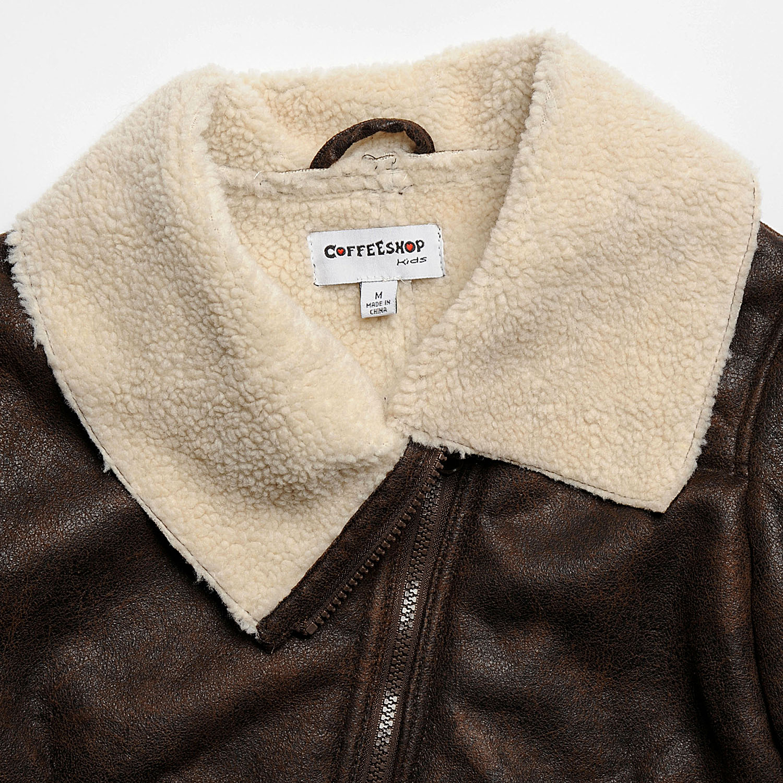 45297418a CoffeeShop Kids Girls Brown Faux Shearling Jacket