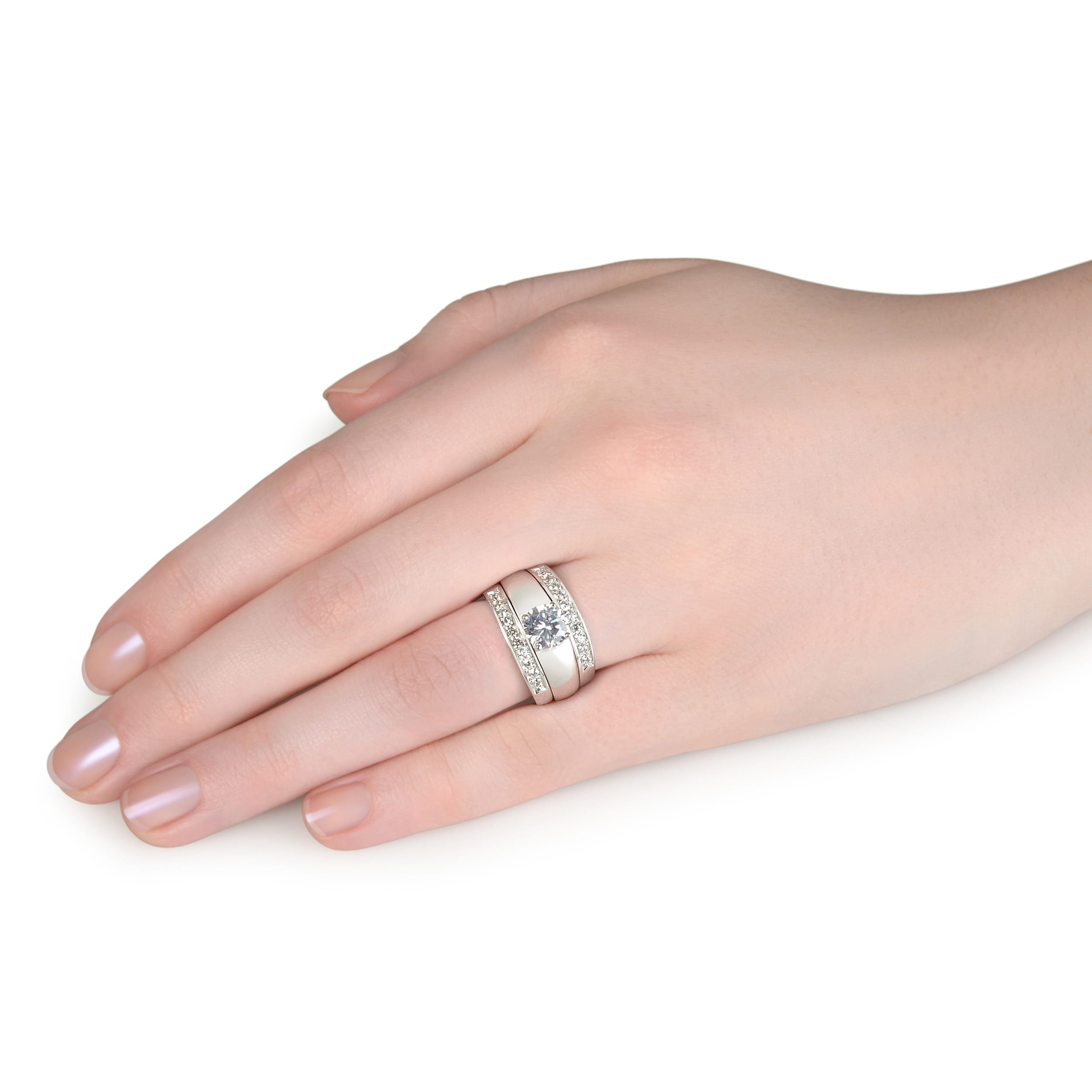 Sterling Silver Cubic Zirconia Wedding Ring Set - Free Shipping ...