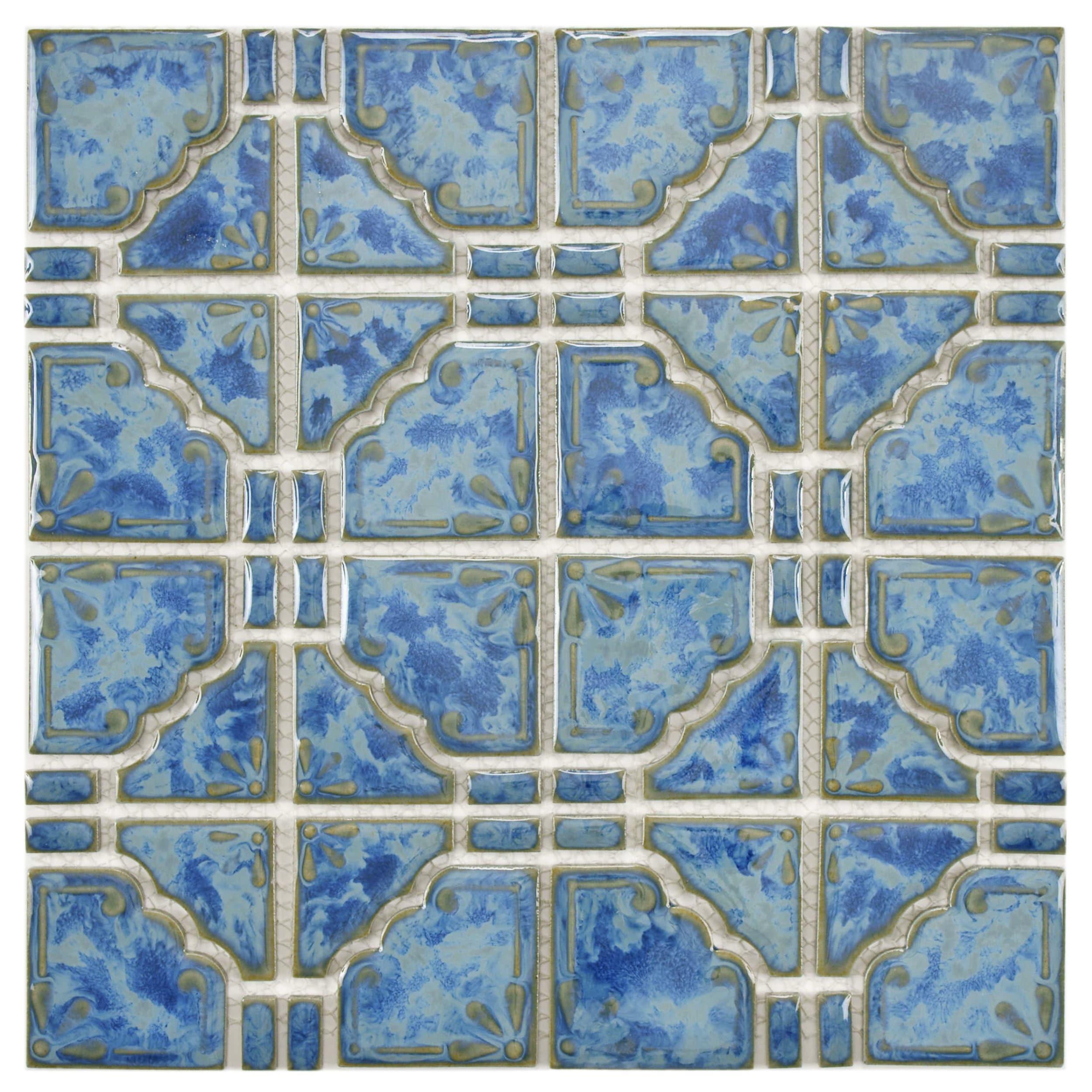 Shop SomerTile 11.75x11.75-inch Luna Pacific Blue Porcelain Mosaic ...