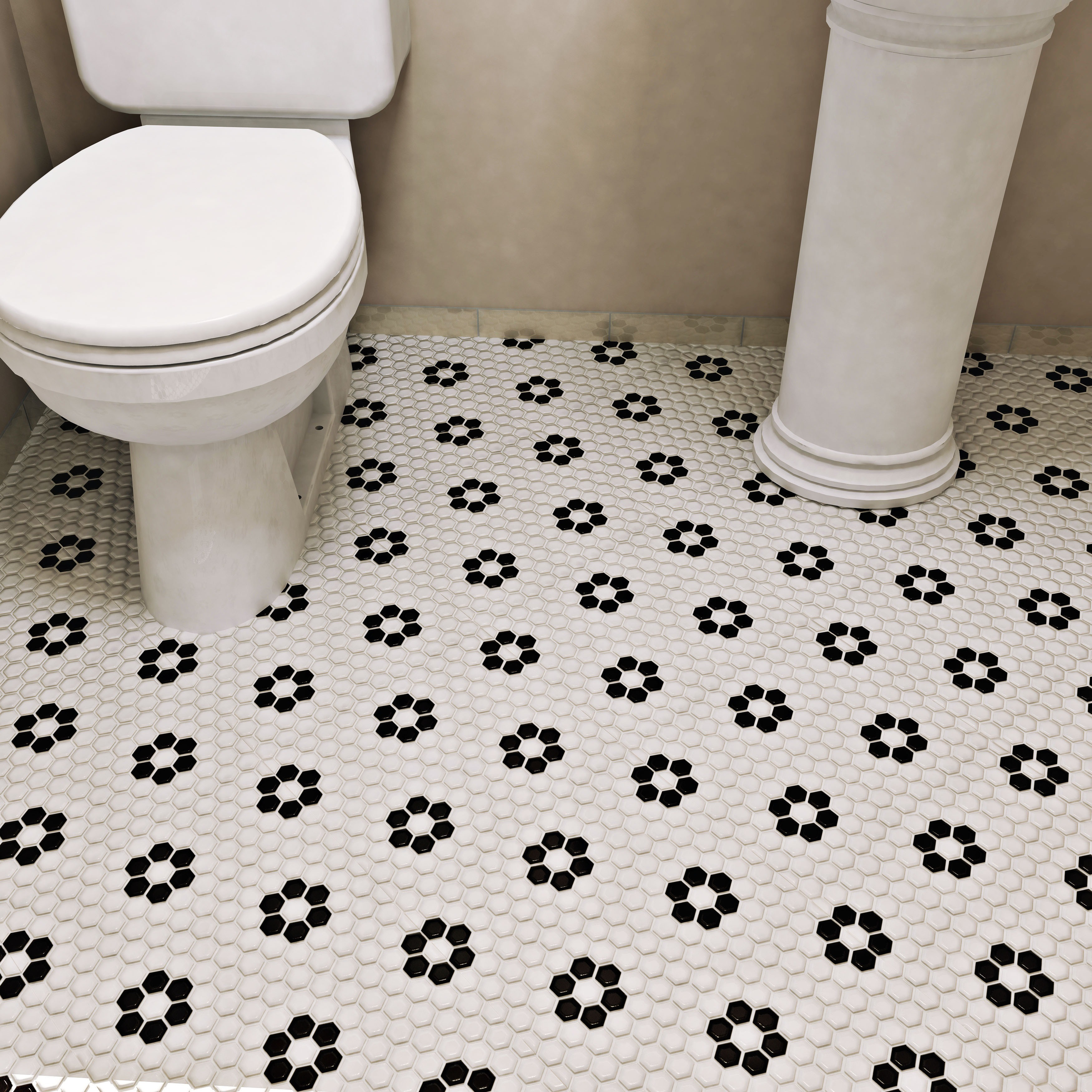 SomerTile 10.25x11.75-inch Victorian Hex White with Flower Porcelain ...