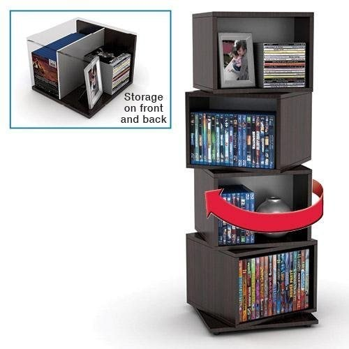 Shop Espresso Wood Grain Finish Rotating Cube Media Tower   Free Shipping  Today   Overstock.com   7626363