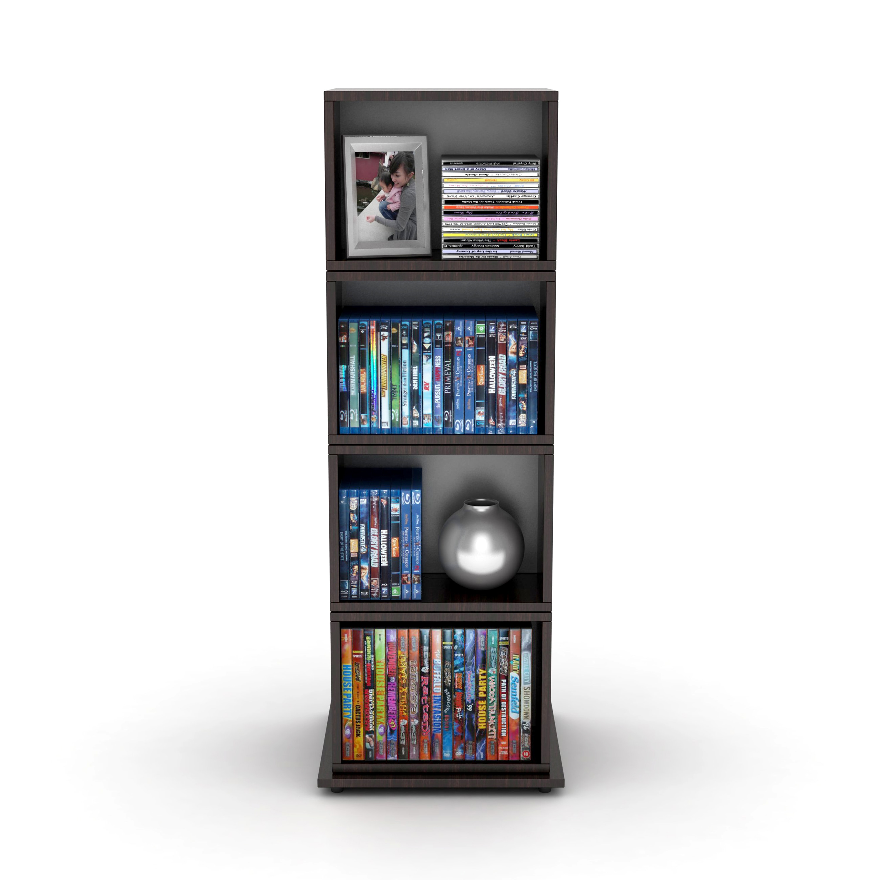 Beau Shop Espresso Wood Grain Finish Rotating Cube Media Tower   Free Shipping  Today   Overstock.com   7626363