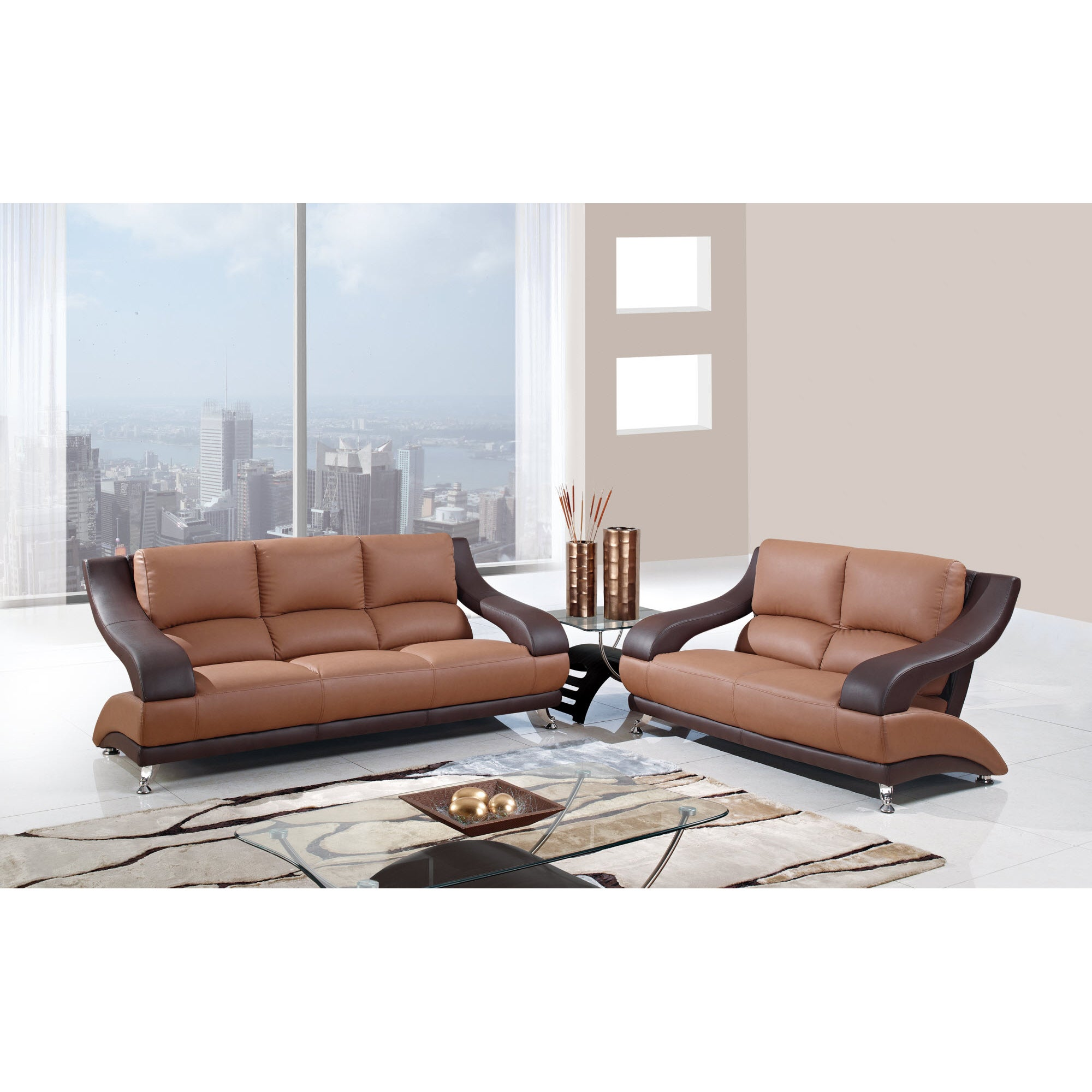 Nice Two Tone Brown Bonded Leather Sofa   Free Shipping Today   Overstock    15047893