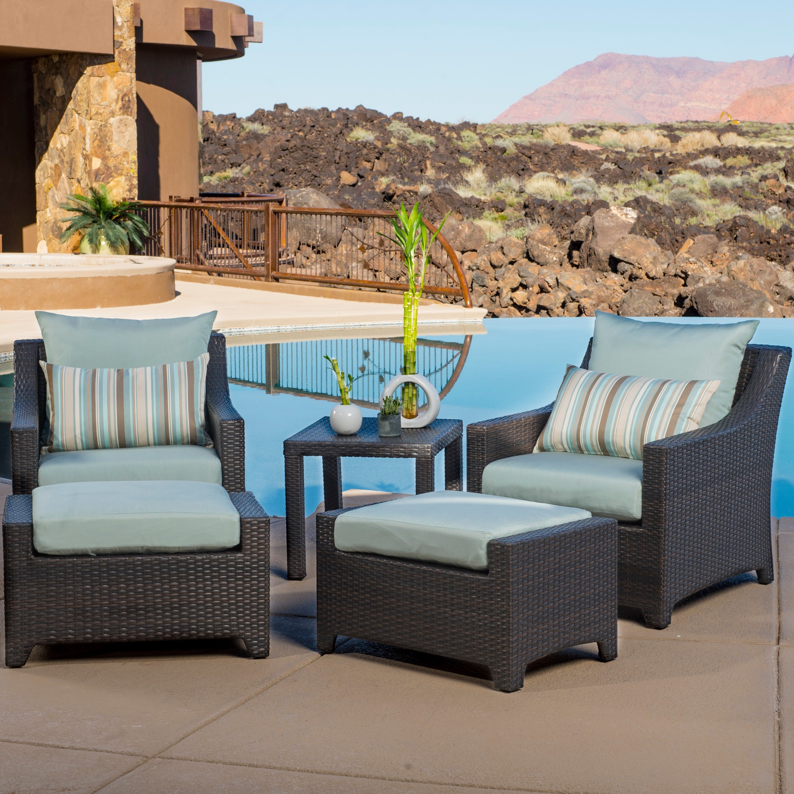 RST Brands Bliss 5 piece Club Chairs and Ottomans Patio Set Free
