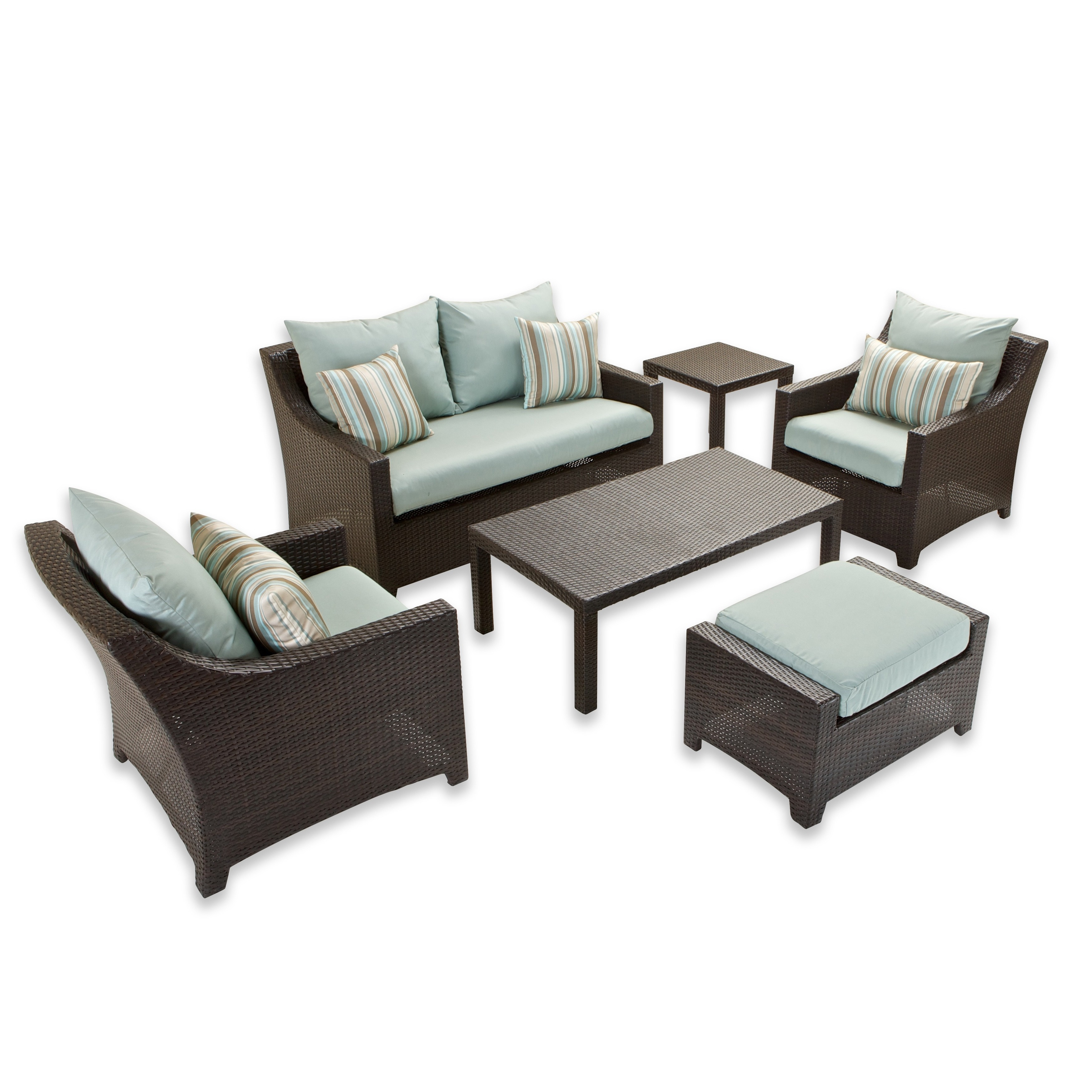 RST Brands Bliss 6 piece Loveseat Chairs and Ottomans Patio Set