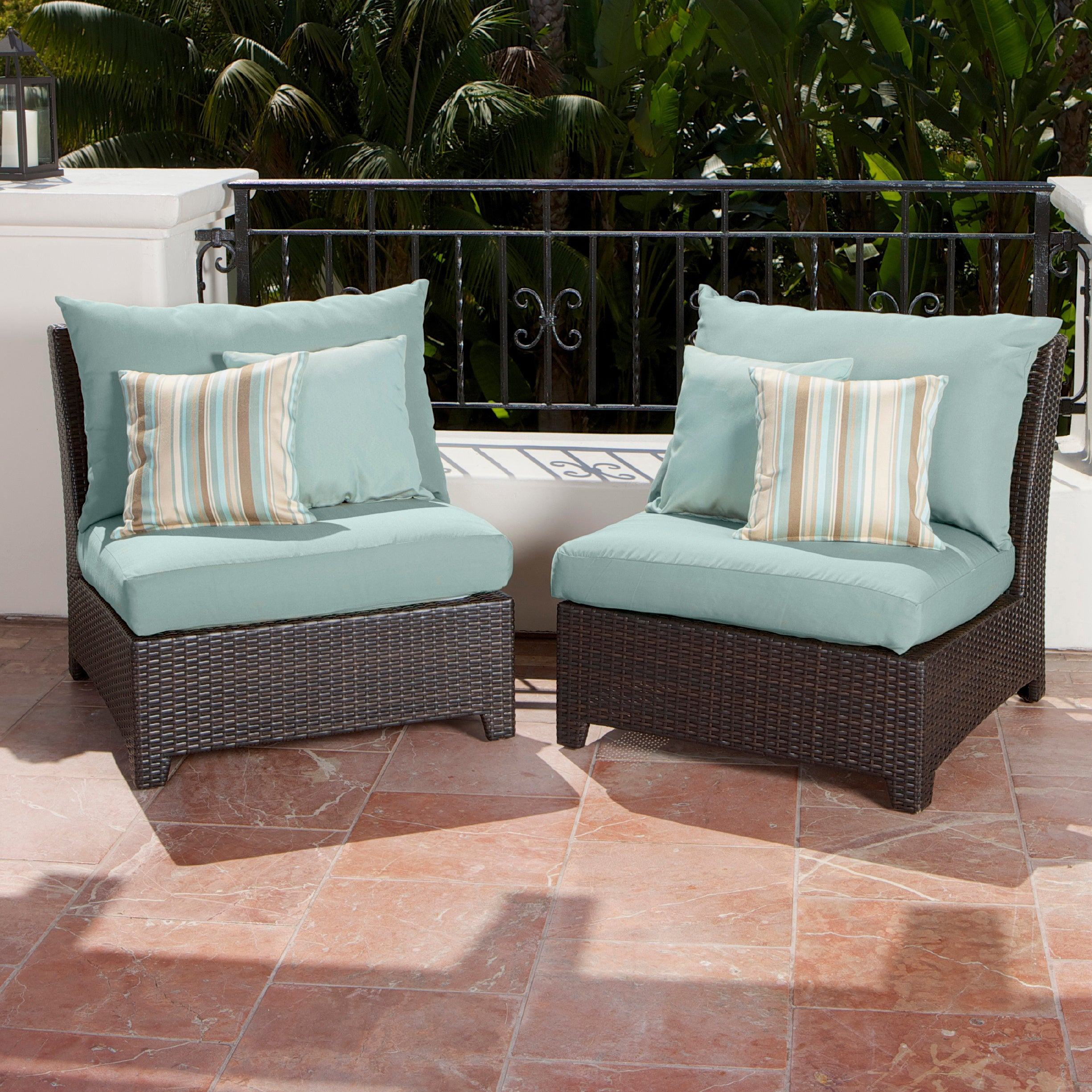 RST Brands Bliss Patio Furniture Armless Chairs Set of 2 Free
