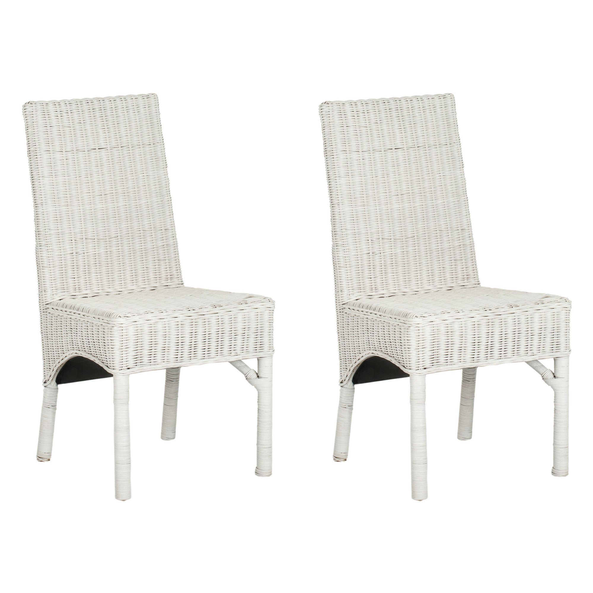 Shop safavieh rural woven dining sommerset white kubu wicker dining chairs set of 2 free shipping today overstock com 7634035