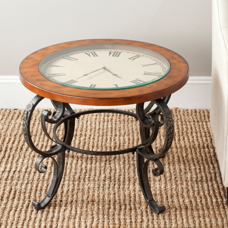 Safavieh Linda Clock Top Dark Brown Side Table Free Shipping