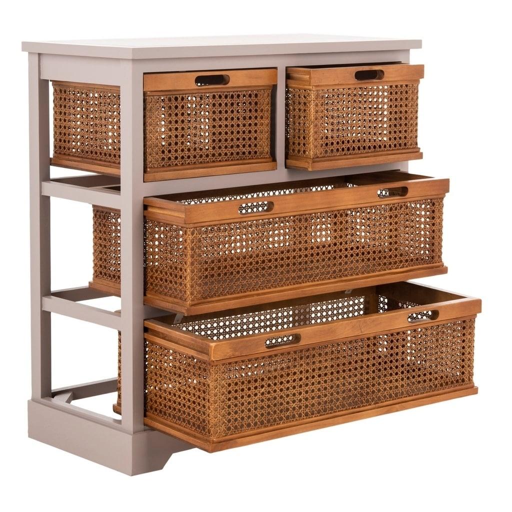 Shop Safavieh Jackson Grey 4 Drawer Wicker Basket Storage Unit   Free  Shipping Today   Overstock.com   7634108