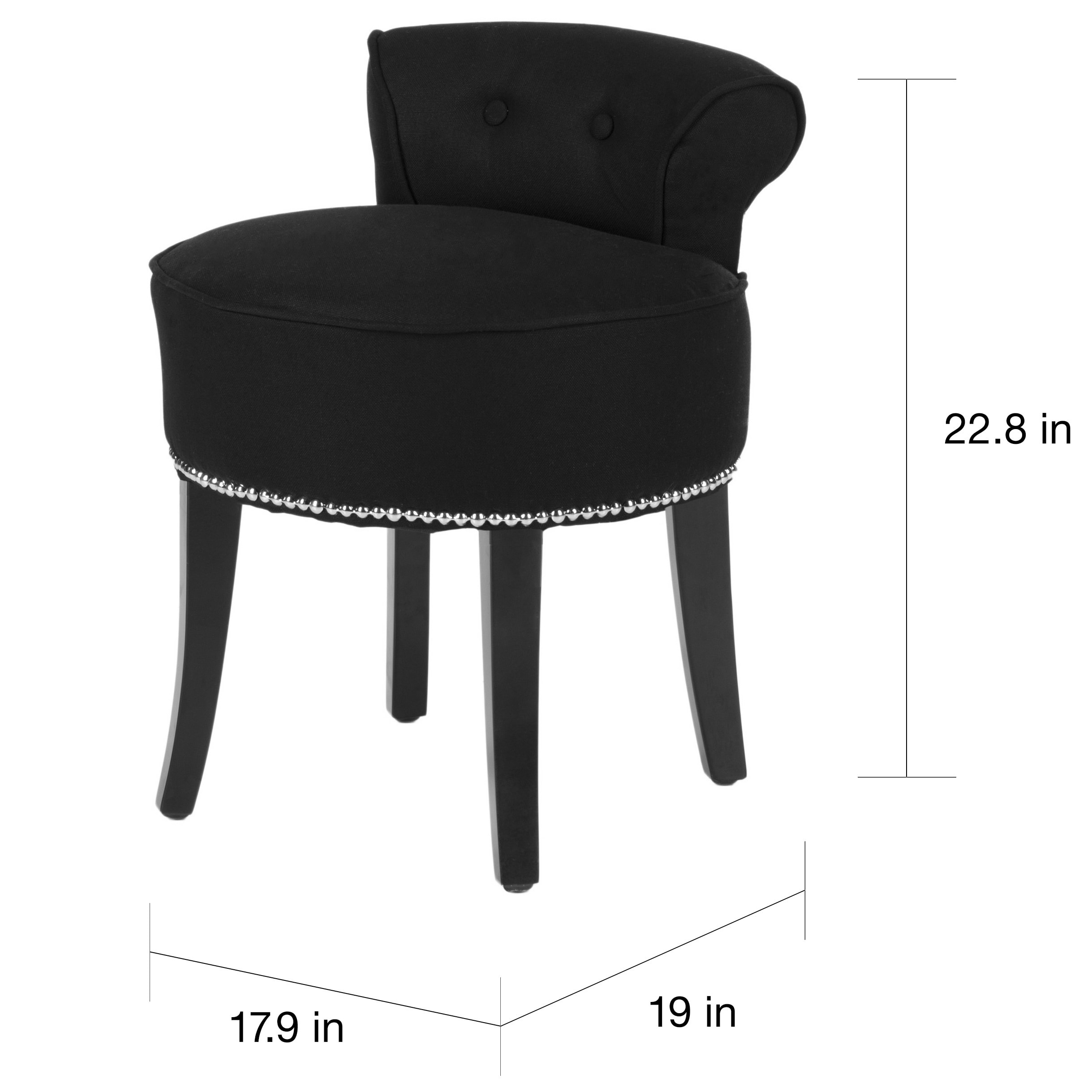 Safavieh Georgia Black Vanity Stool 18 W X 19 D 23 H Free Shipping Today 7634112