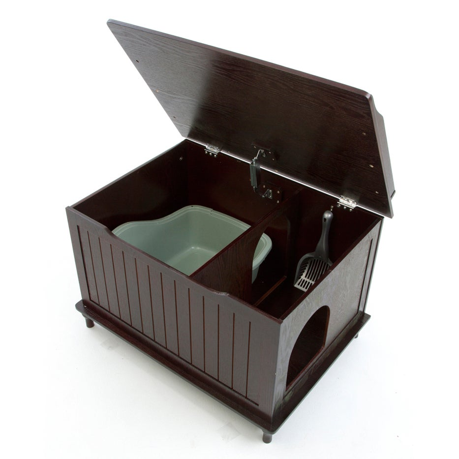 Beautiful Designer Pet Products Wood Hidden Cat Litter Box Enclosure   Free Shipping  Today   Overstock   15055558