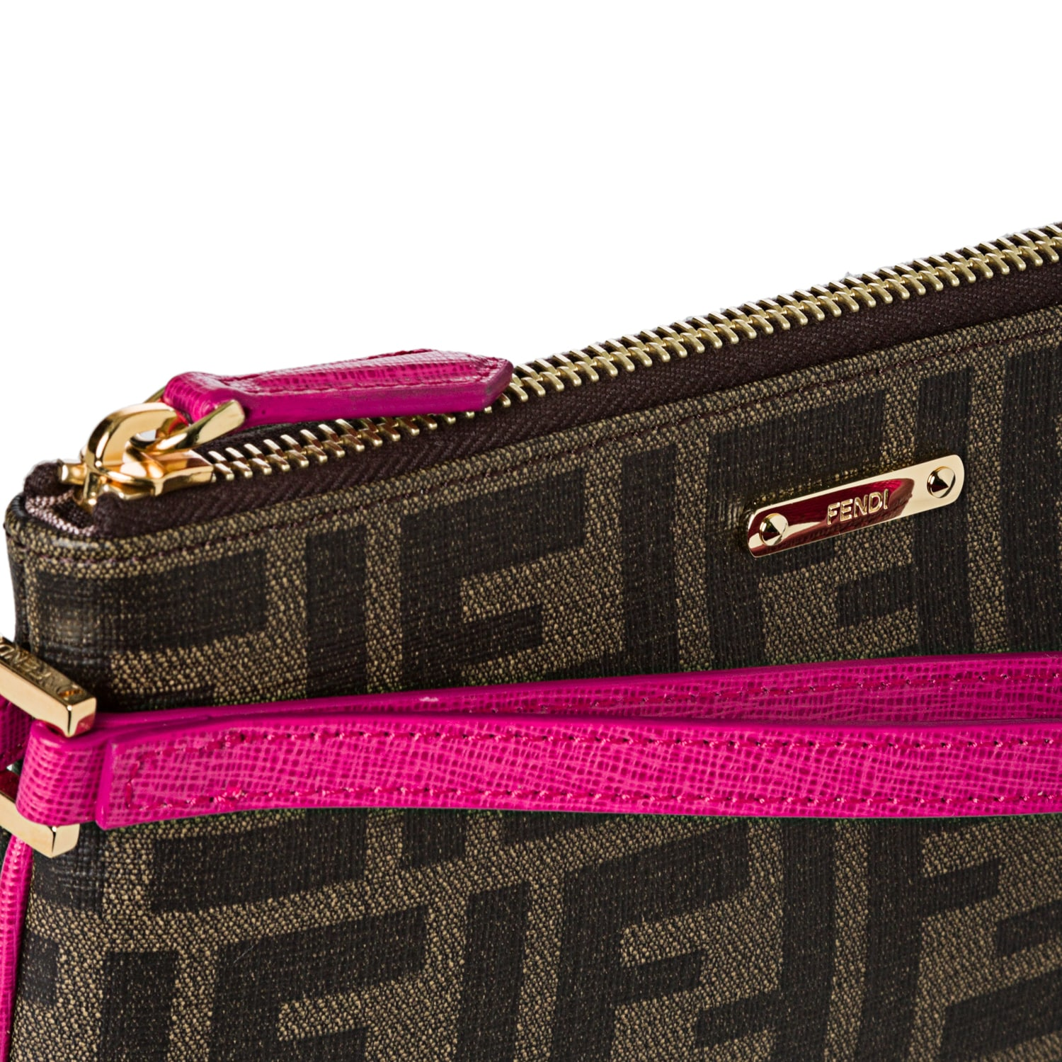 6ecfa522c369 Shop Fendi Tobacco and Pink Coated Canvas Zucca Print Wristlet - Free  Shipping Today - Overstock.com - 7639673
