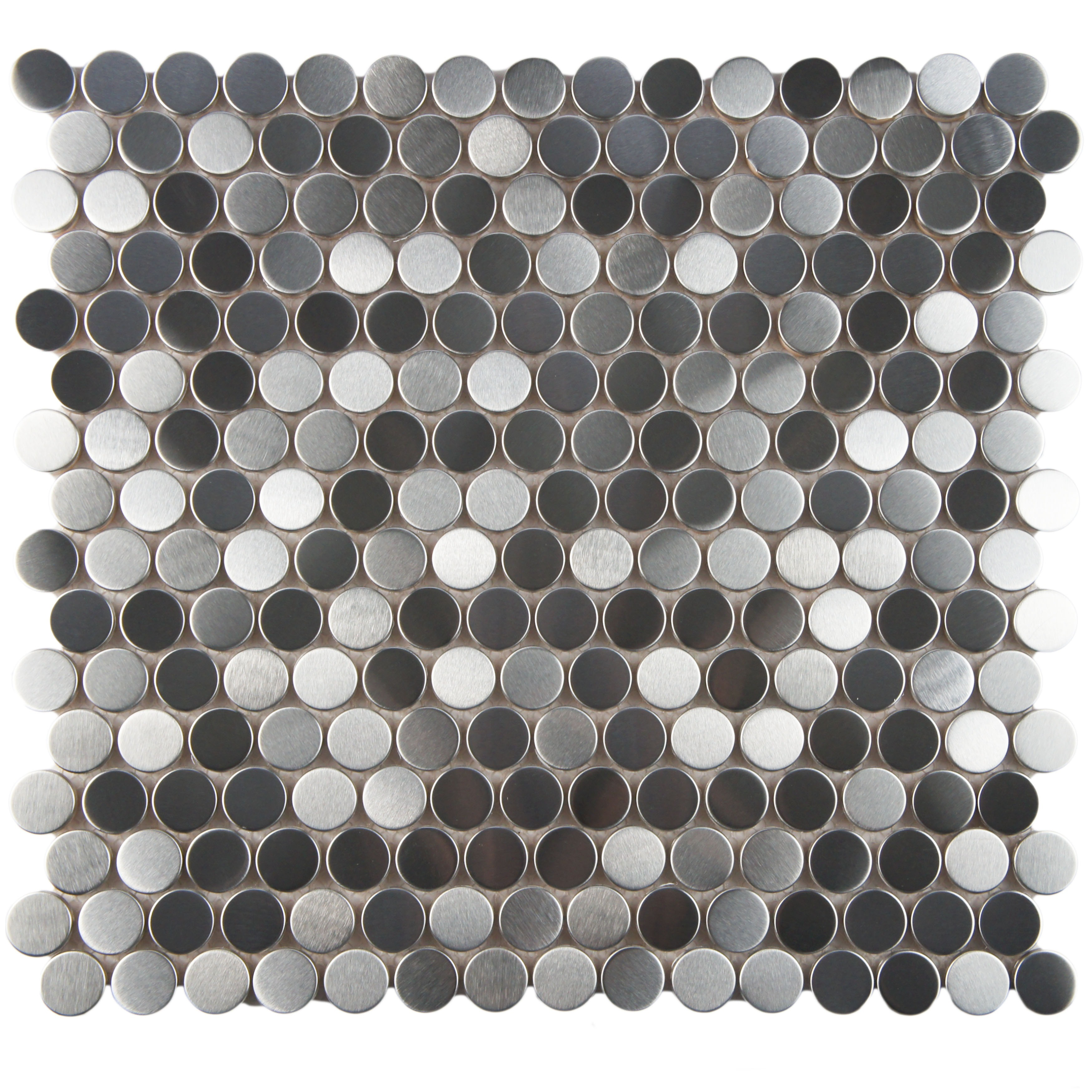 Somertile 11 875x11 875 Inch Chromium Penny Stainless Steel Over Porcelain Mosaic Wall Tile 10 Tiles 9 8 Sqft Free Shipping Today