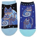 Laurel Burch Socks 2/Pair-Indigo Cats