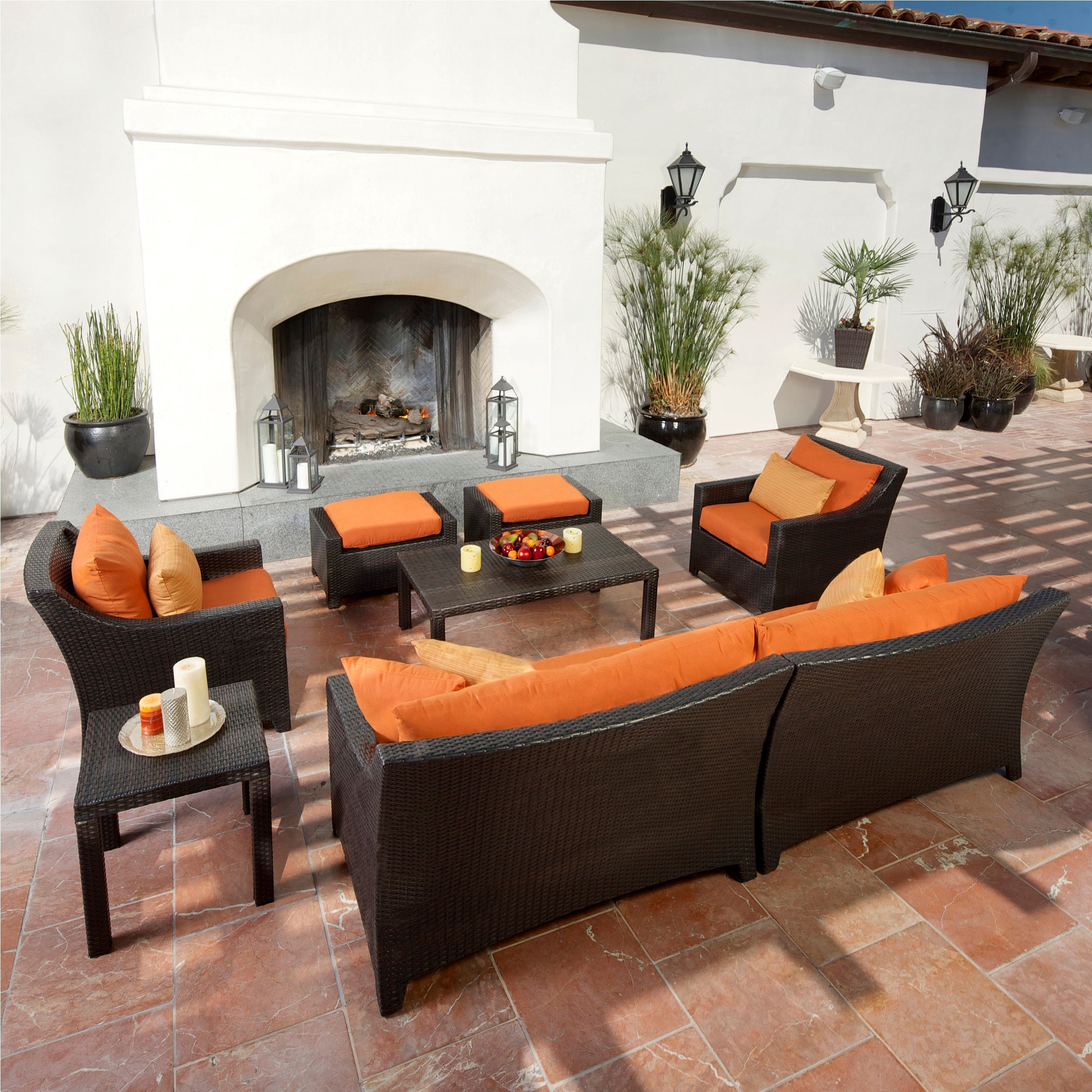 RST Outdoor Tikka 8 Piece Sofa Club Chair and Ottomans Patio