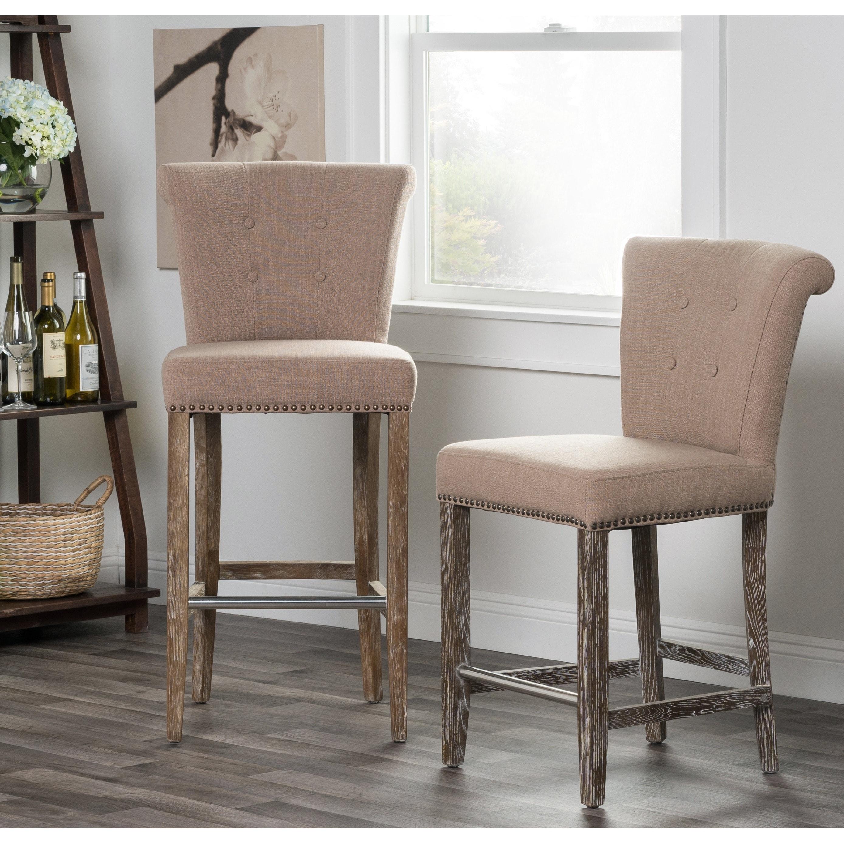 Rafa Grey Upholstered 30 Inch Barstool By Kosas Home Free Shipping Today 7649709