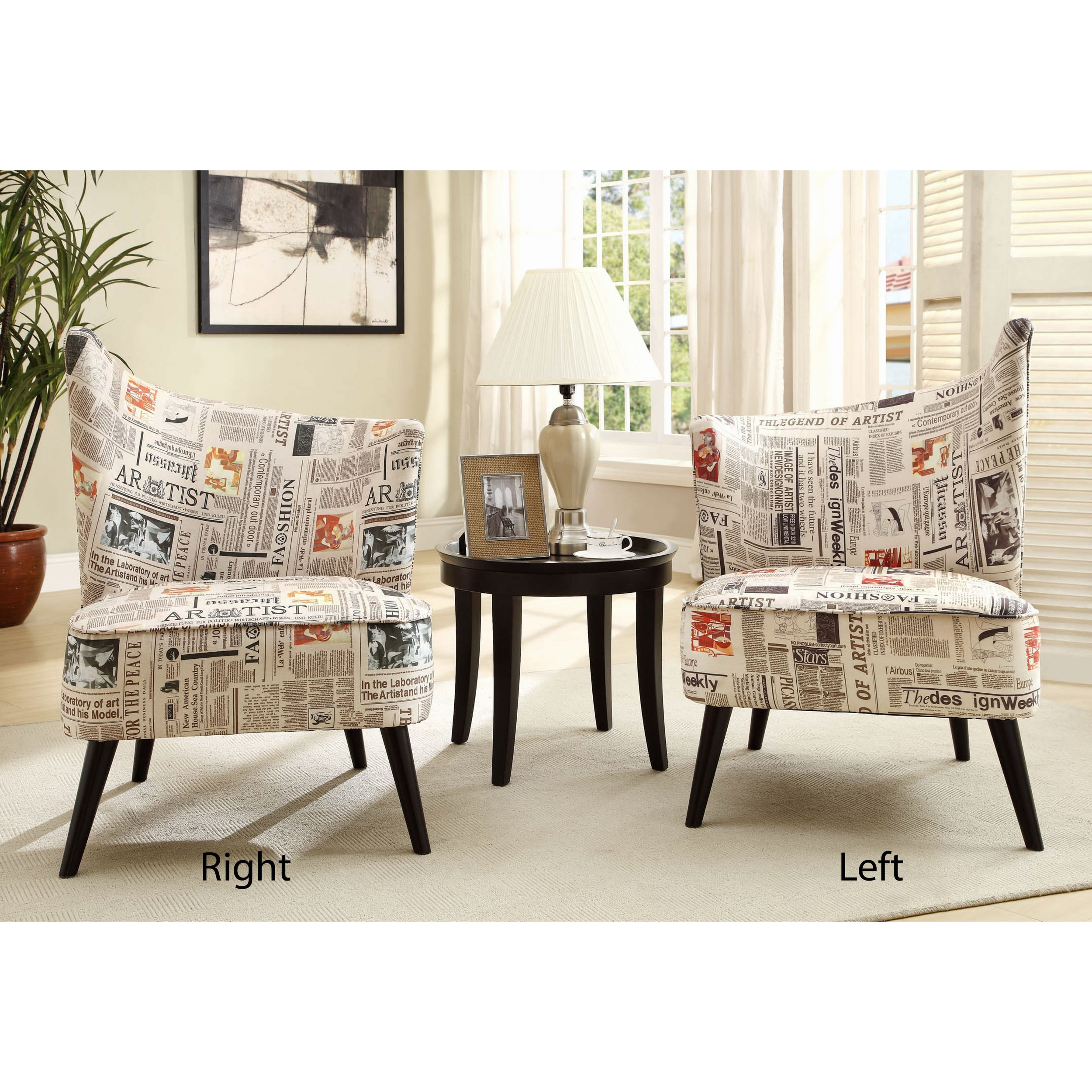 Elegant Accent Chair with Flaired Back in Newsprint Fabric - Free ...