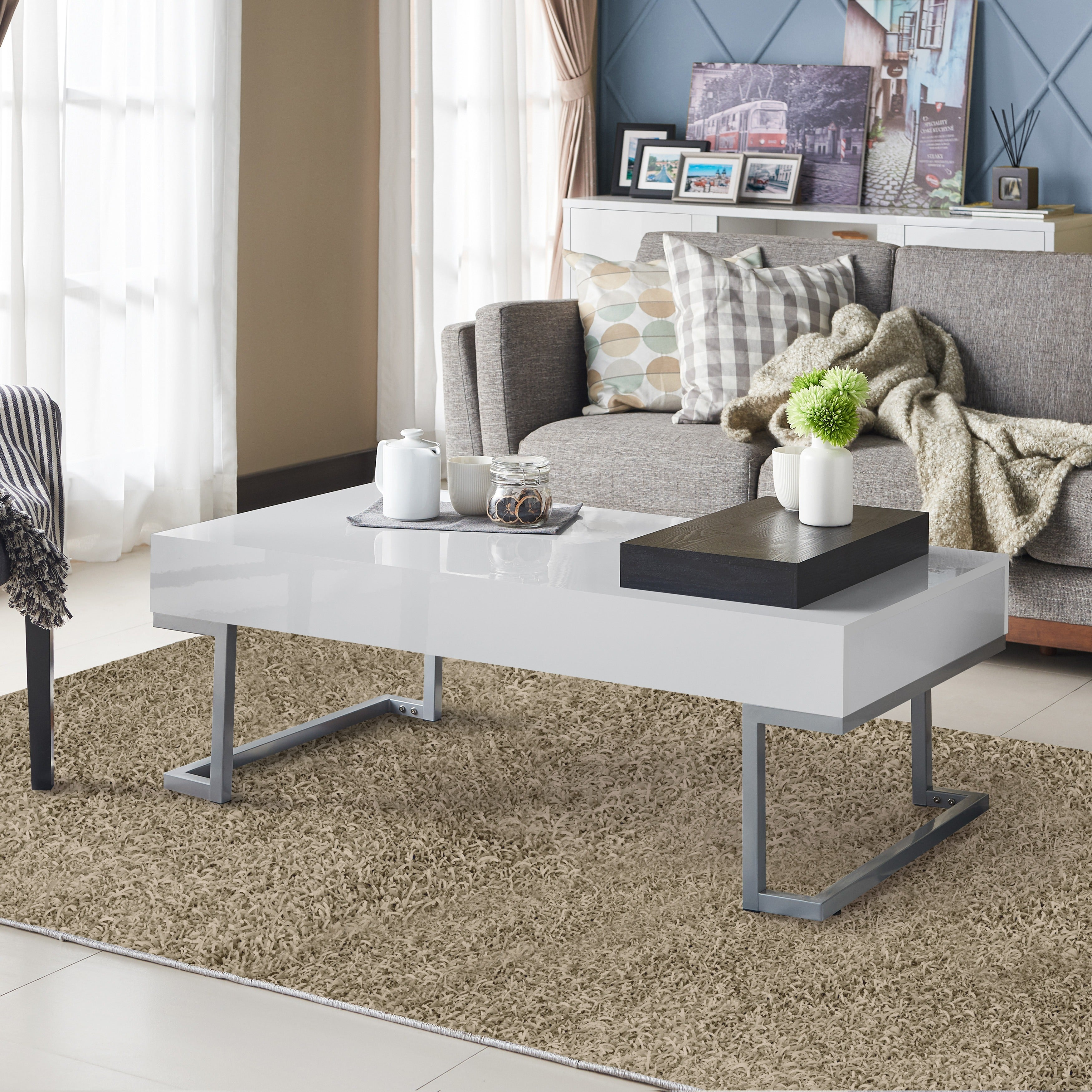 Shop Furniture Of America Cassie Glossy Whitefinished Coffee Table - Pottery barn cassie coffee table