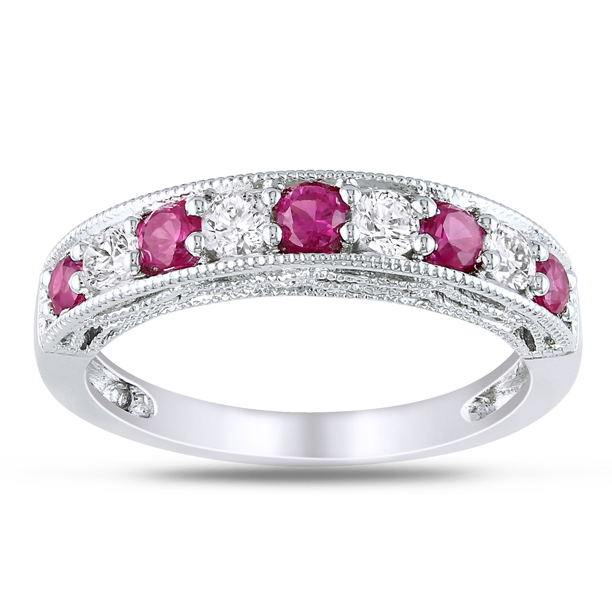 cut three size to cz plated platinum accent stone engagement ruby bands sterling round silver double anniversary ring