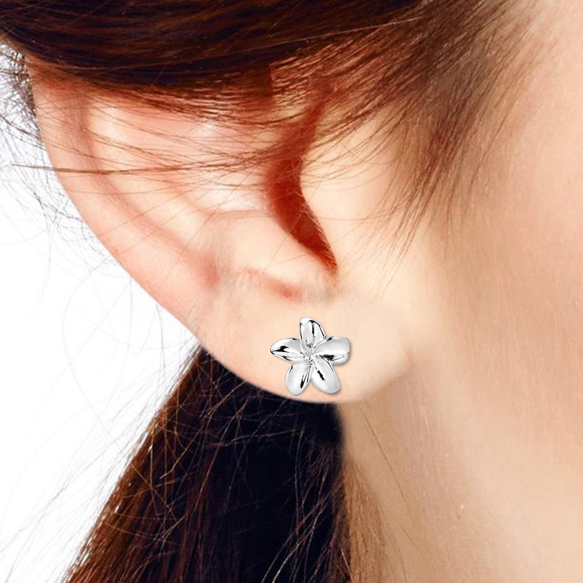 Petite Hawaiian Plumeria Flower Sterling Silver Post Earrings Free